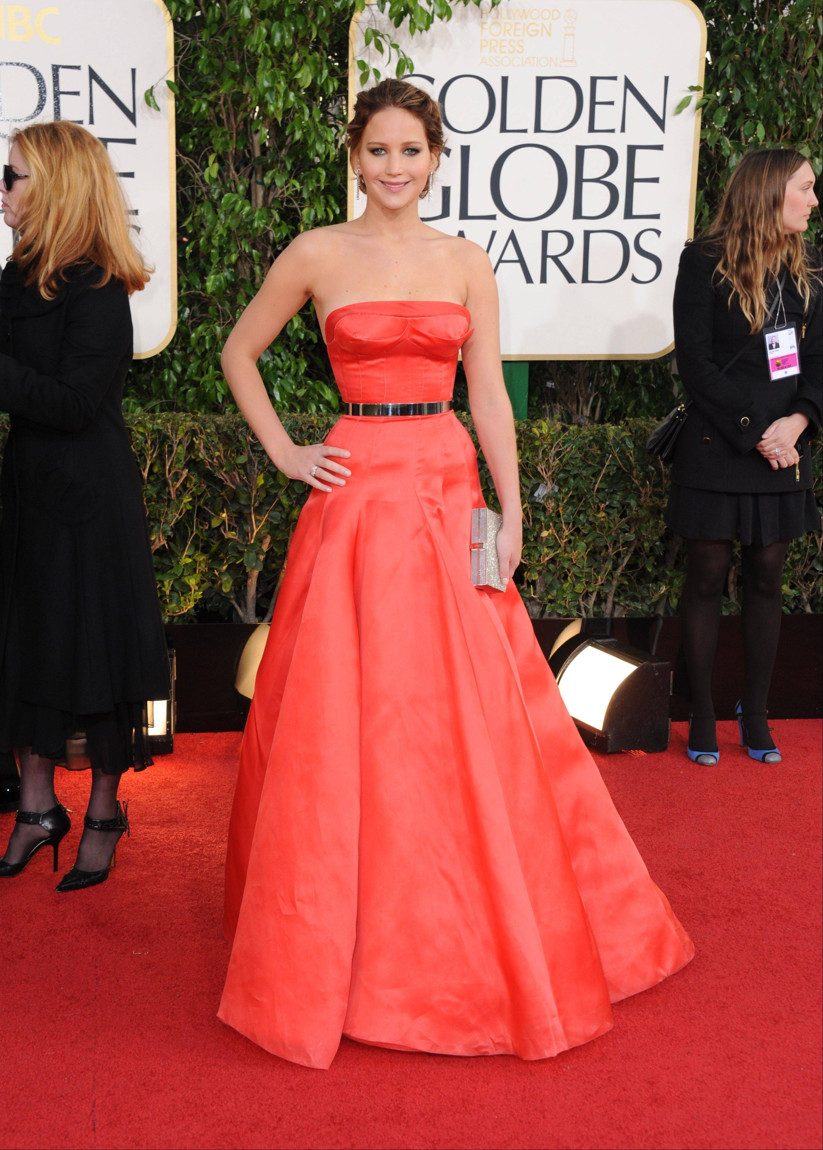 Actress Jennifer Lawrence arrives at the 70th Annual Golden Globe Awards at the Beverly Hilton Hotel on Sunday Jan. 13, 2013, in Beverly Hills, Calif.