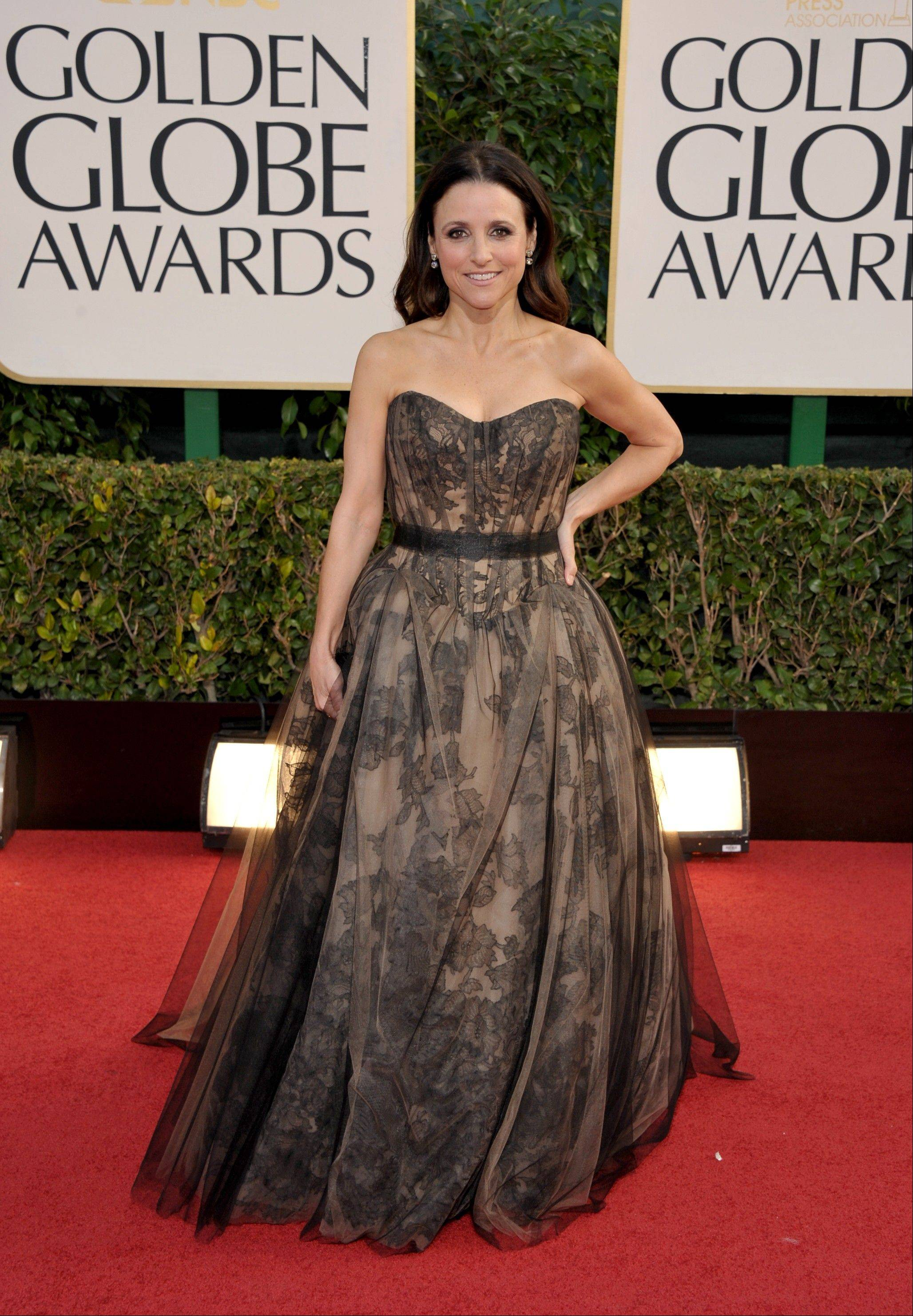 Julia Louis-Dreyfus arrives at the 70th Annual Golden Globe Awards at the Beverly Hilton Hotel on Sunday Jan. 13, 2013, in Beverly Hills, Calif.