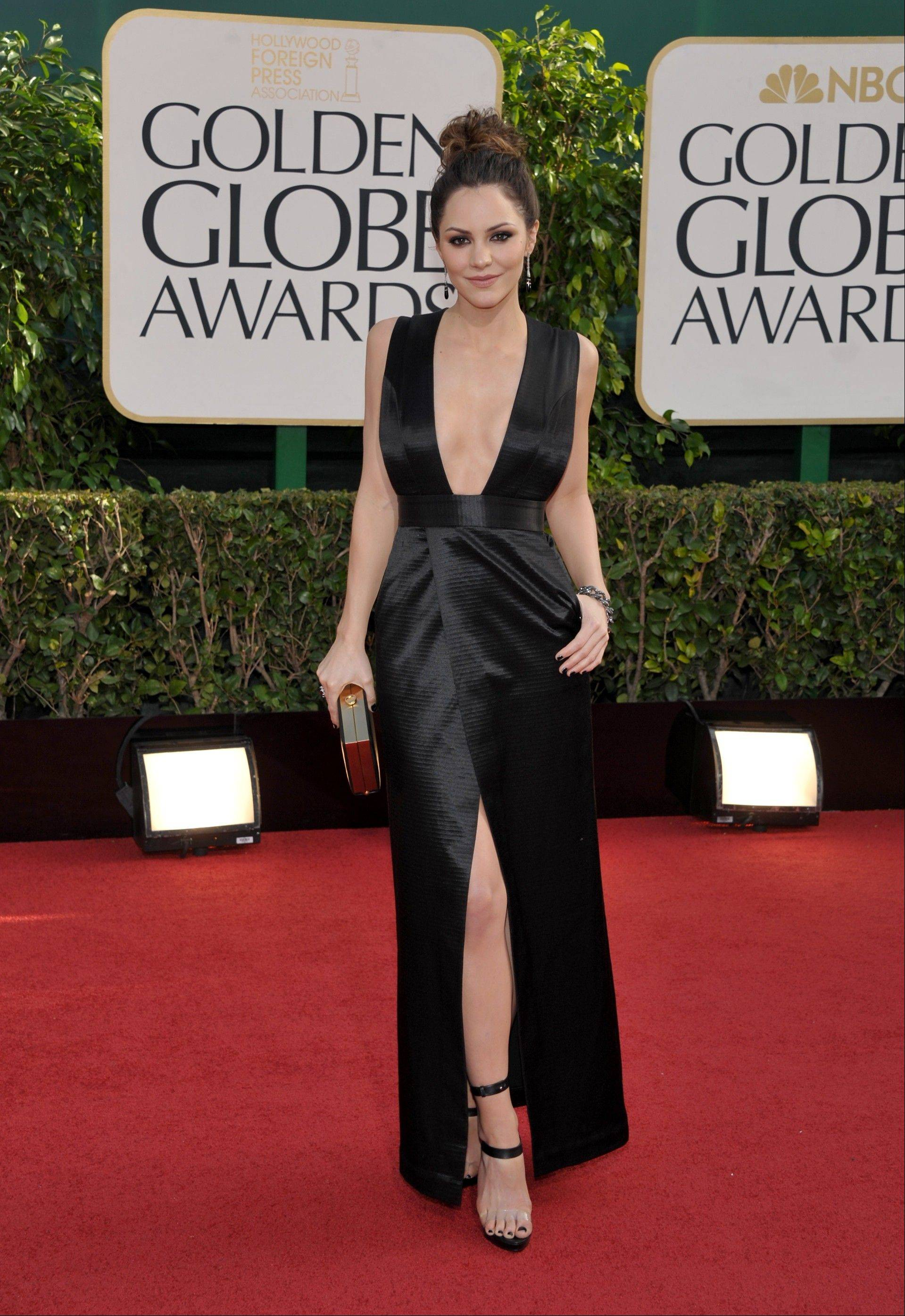 """Smash"" actrress Katharine McPhee arrives at the 70th Annual Golden Globe Awards at the Beverly Hilton Hotel on Sunday Jan. 13, 2013, in Beverly Hills, Calif."