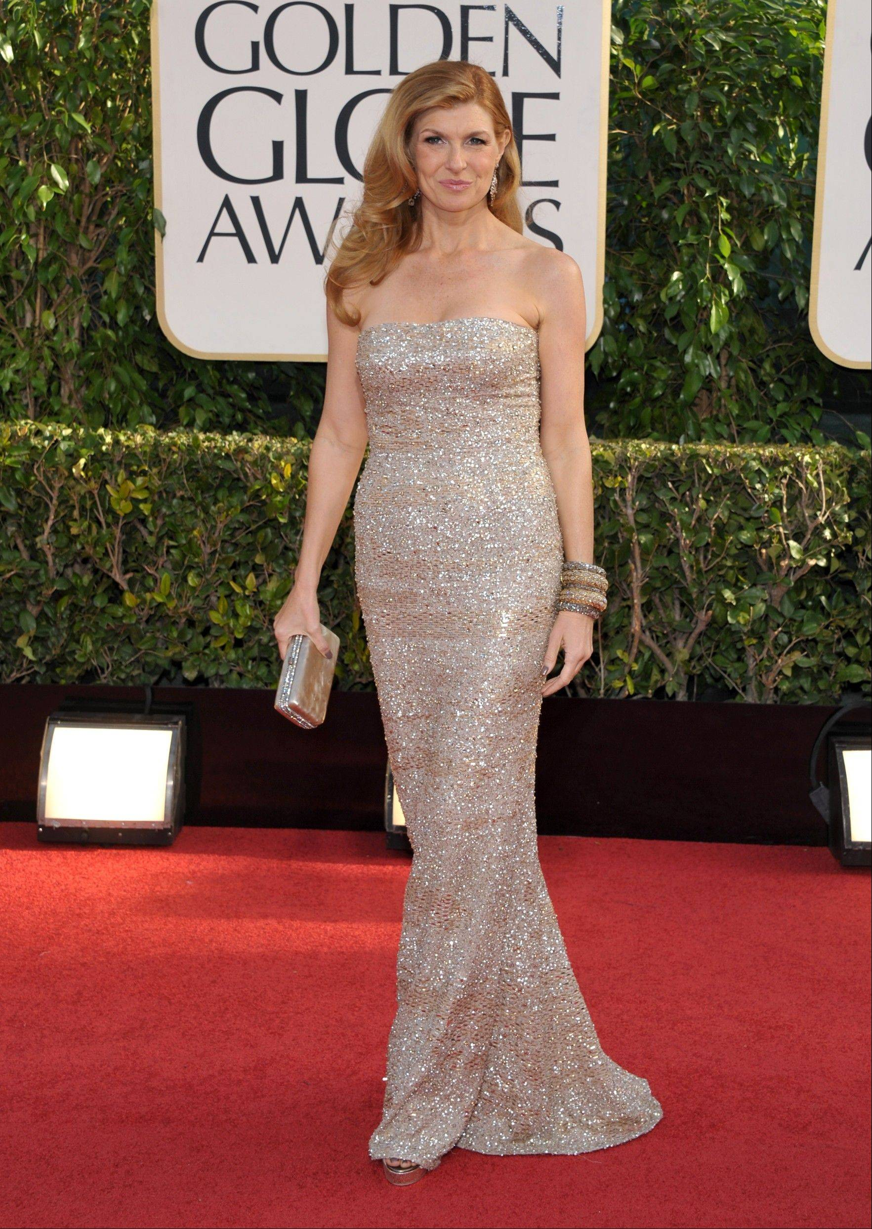Connie Britton arrives at the 70th Annual Golden Globe Awards at the Beverly Hilton Hotel on Sunday Jan. 13, 2013, in Beverly Hills, Calif.
