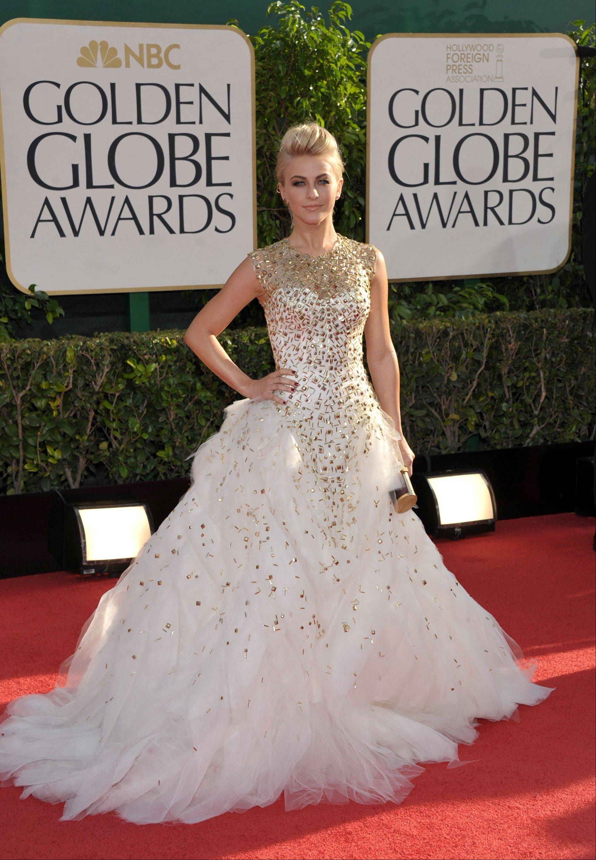Julianne Hough arrives at the 70th Annual Golden Globe Awards at the Beverly Hilton Hotel on Sunday Jan. 13, 2013, in Beverly Hills, Calif.