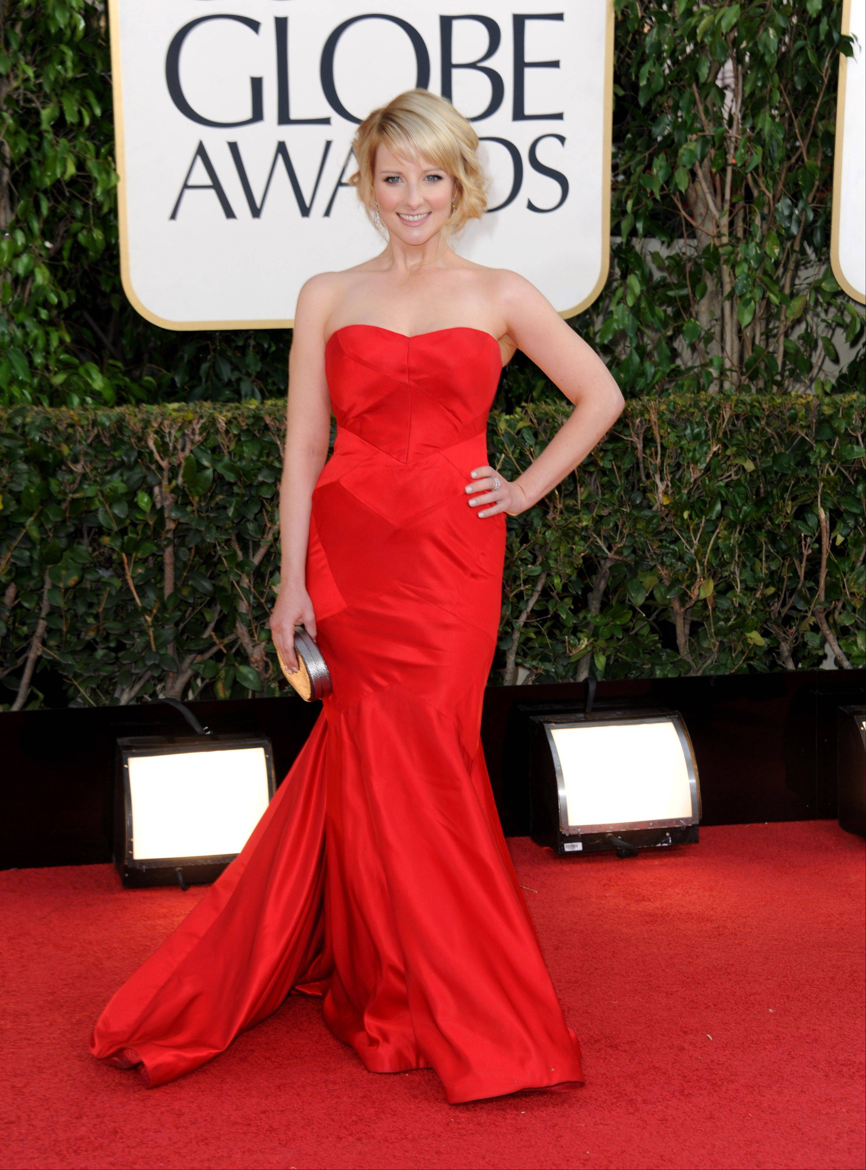 Actress Melissa Rauch arrives at the 70th Annual Golden Globe Awards at the Beverly Hilton Hotel on Sunday Jan. 13, 2013, in Beverly Hills, Calif.