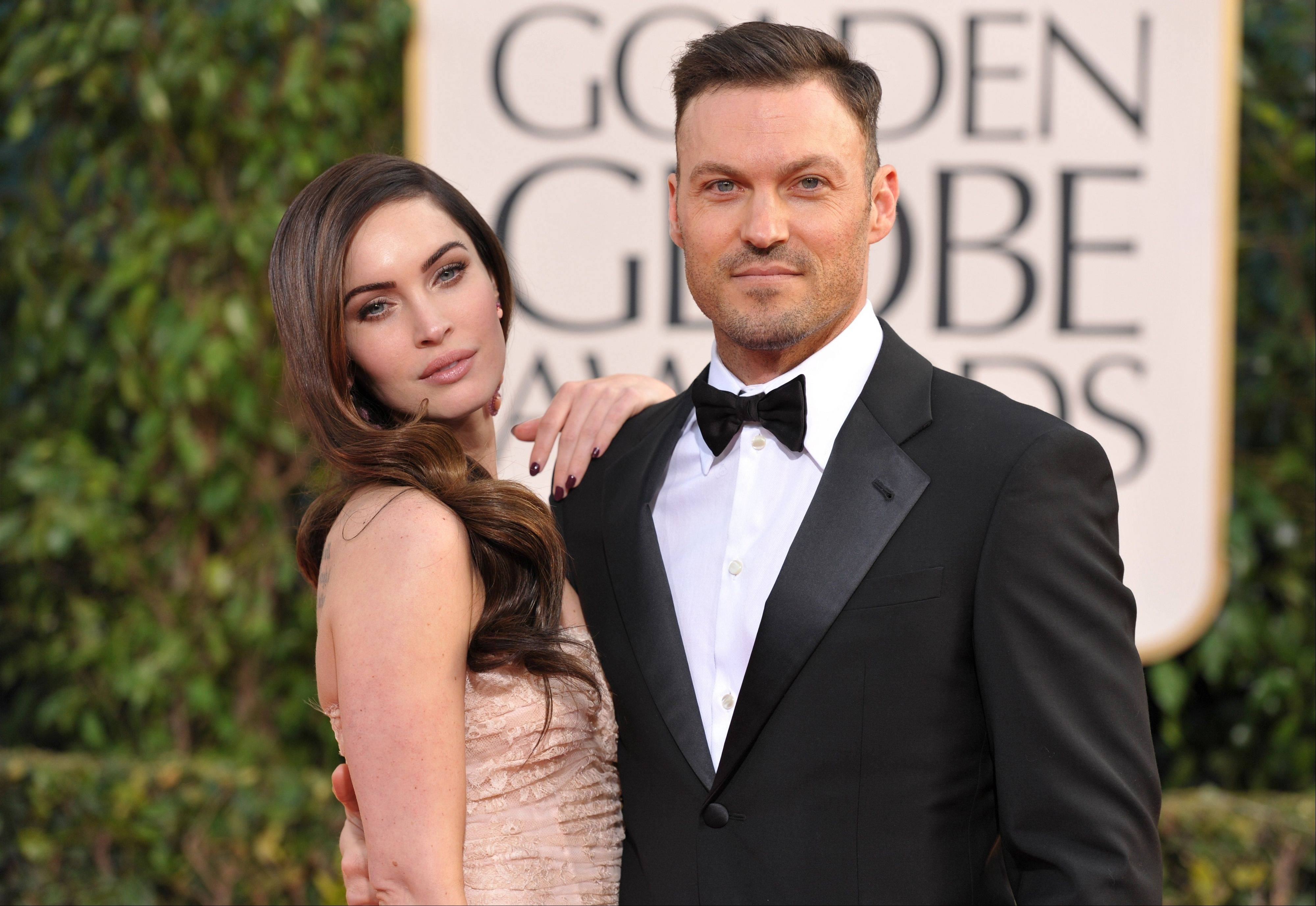 Actress Megan Fox and her husband, actor Brian Austin, Green arrive at the 70th Annual Golden Globe Awards at the Beverly Hilton Hotel on Sunday Jan. 13, 2013, in Beverly Hills, Calif.