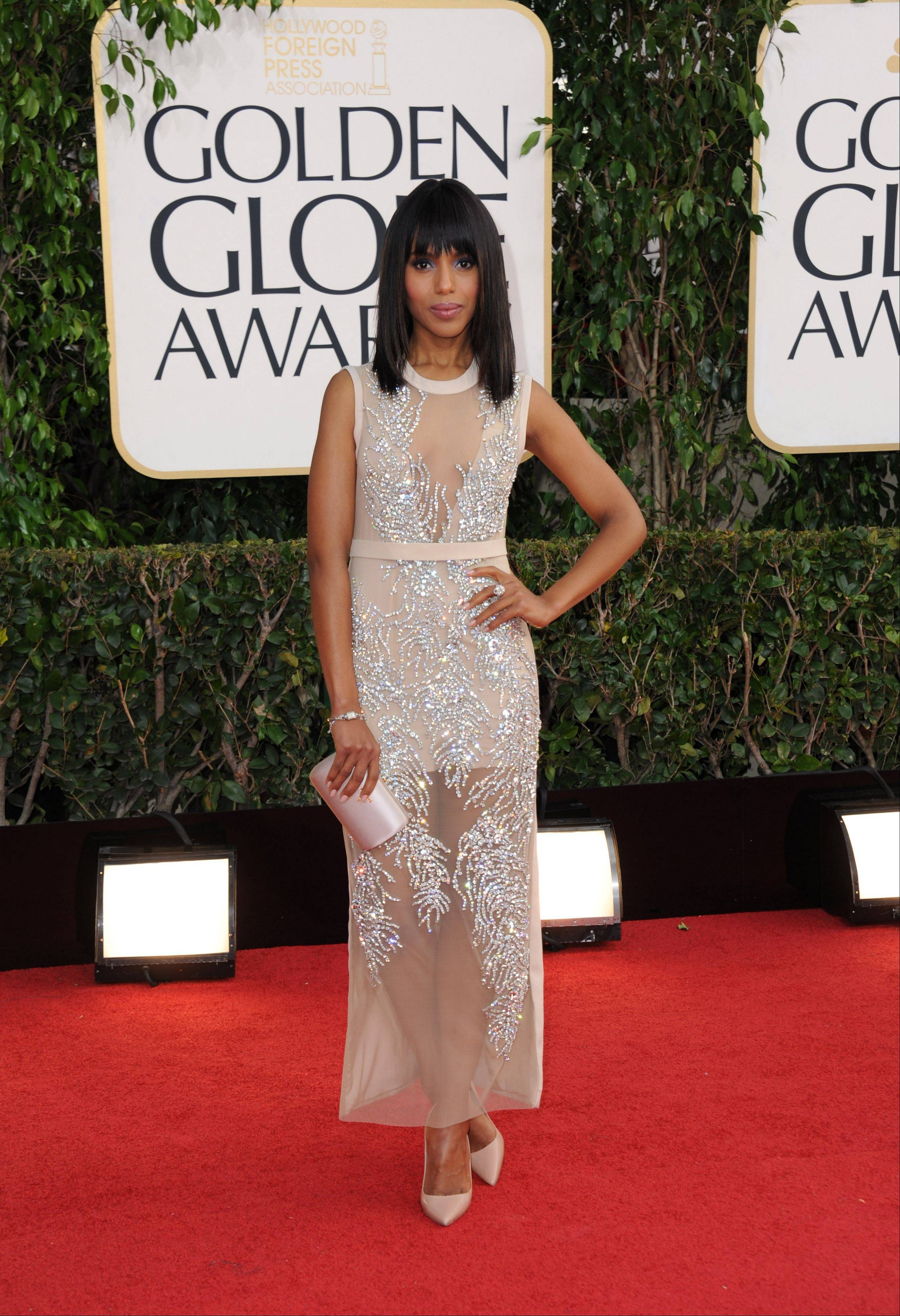 "Actress Kerry Washington, star of ""Scandal"" and ""Django Unchained"" arrives at the 70th Annual Golden Globe Awards at the Beverly Hilton Hotel on Sunday Jan. 13, 2013, in Beverly Hills, Calif."