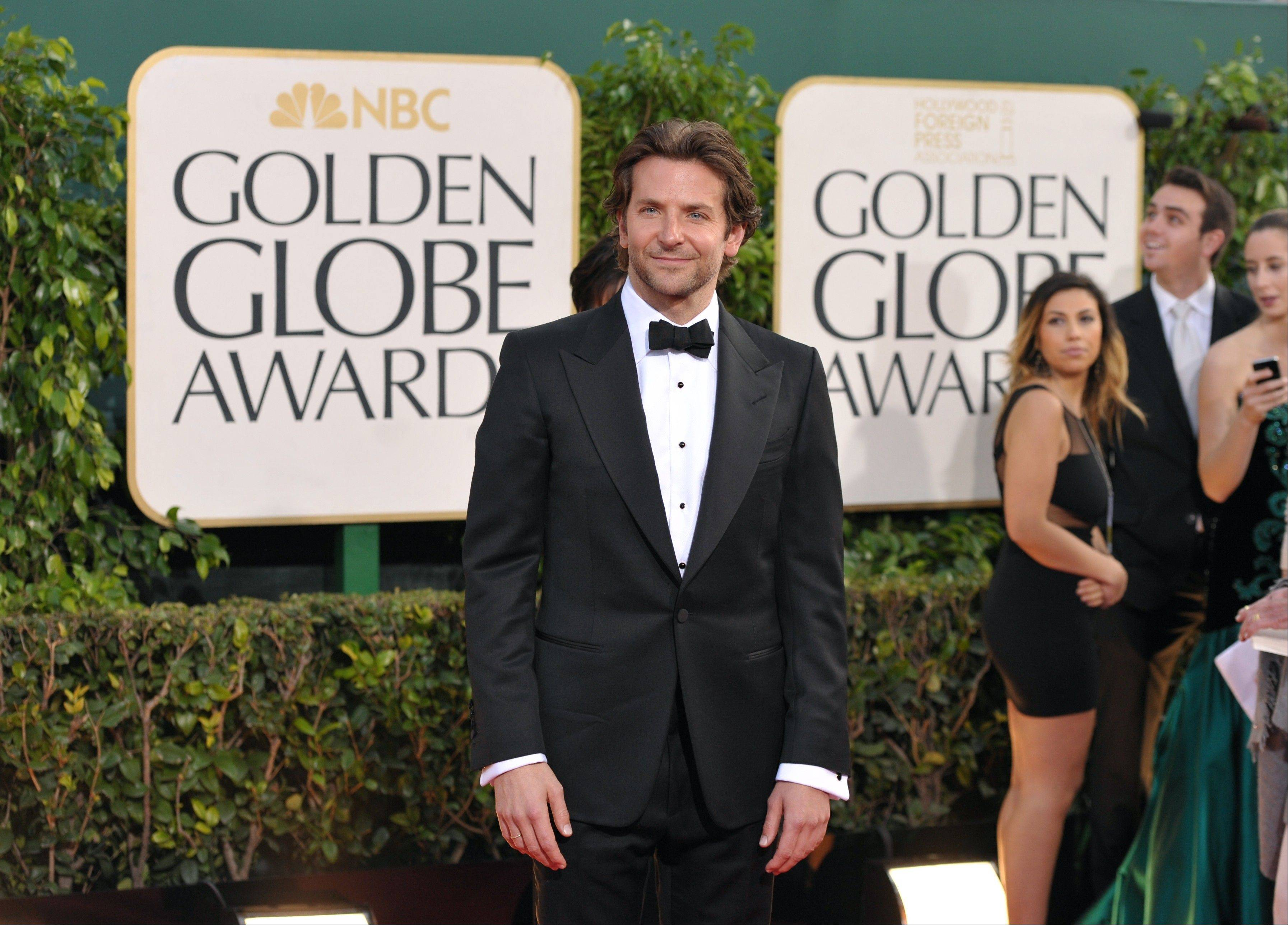 """Silver Linings Playbook"" star Bradley Cooper arrives at the 70th Annual Golden Globe Awards at the Beverly Hilton Hotel on Sunday Jan. 13, 2013, in Beverly Hills, Calif."