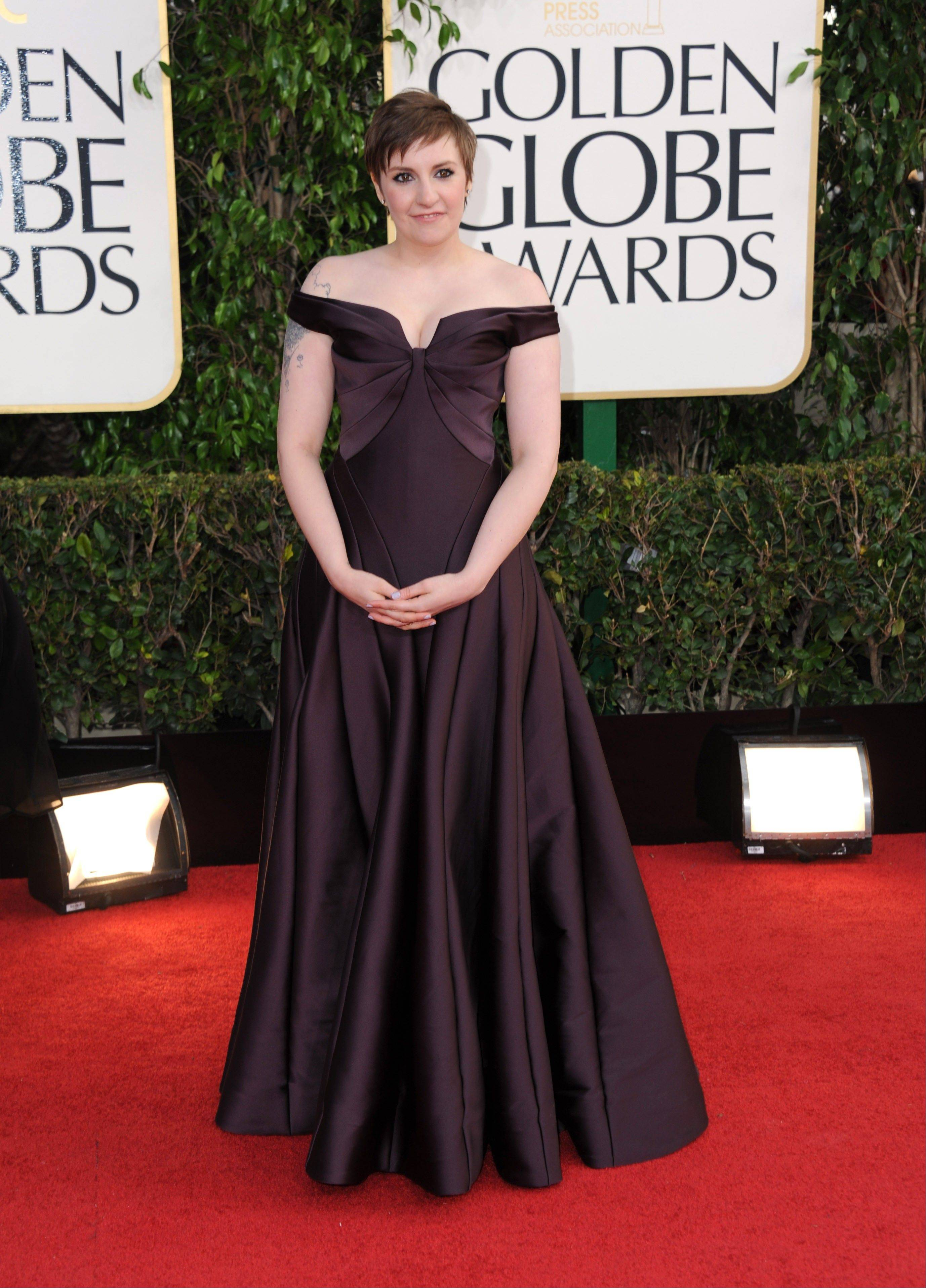 """Girls"" star and creator Lena Dunham arrives at the 70th Annual Golden Globe Awards at the Beverly Hilton Hotel on Sunday Jan. 13, 2013, in Beverly Hills, Calif."