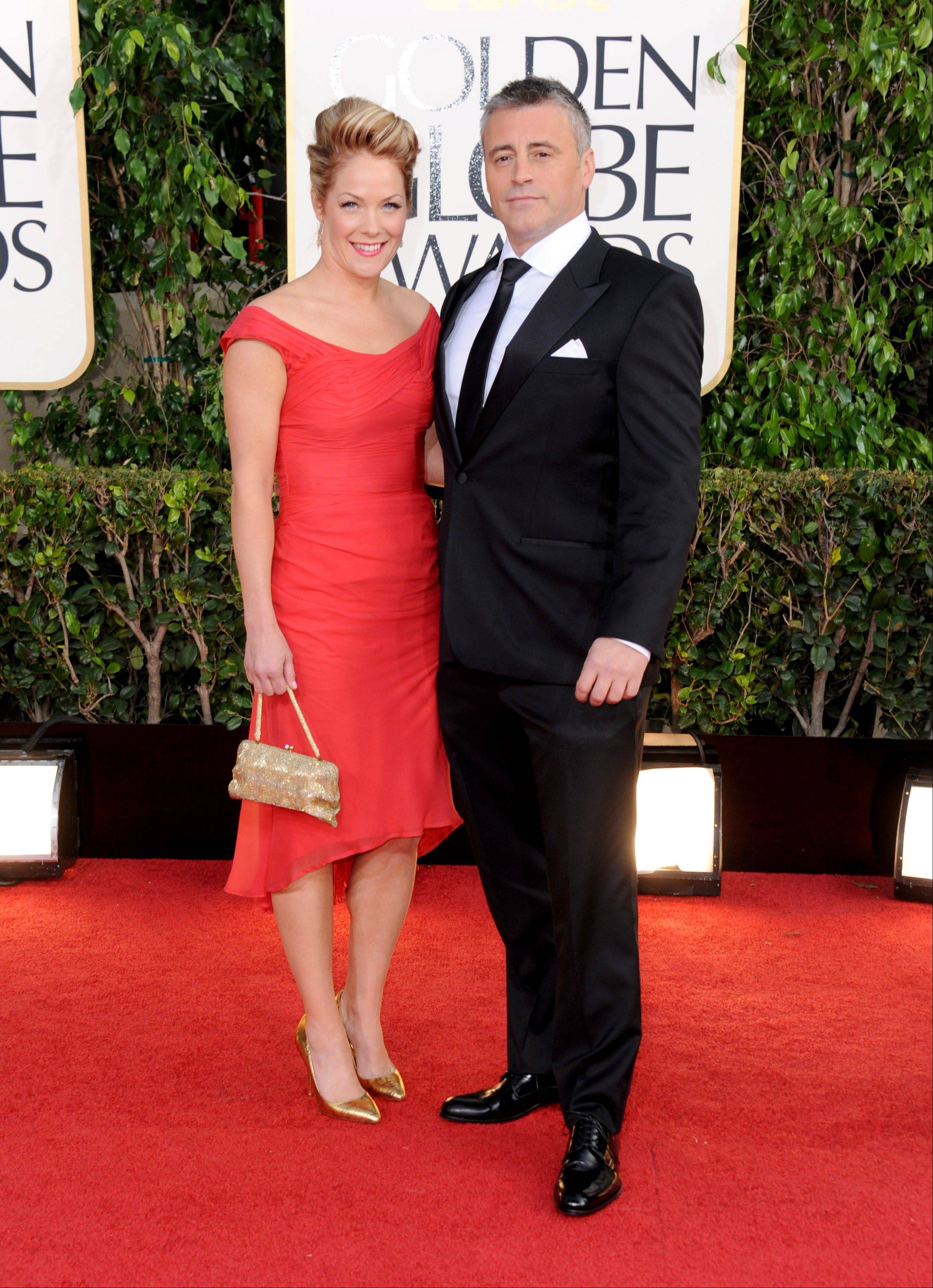 Actor Matt LeBlanc and his wife, Melissa McKnight, arrive at the 70th Annual Golden Globe Awards at the Beverly Hilton Hotel on Sunday Jan. 13, 2013, in Beverly Hills, Calif.