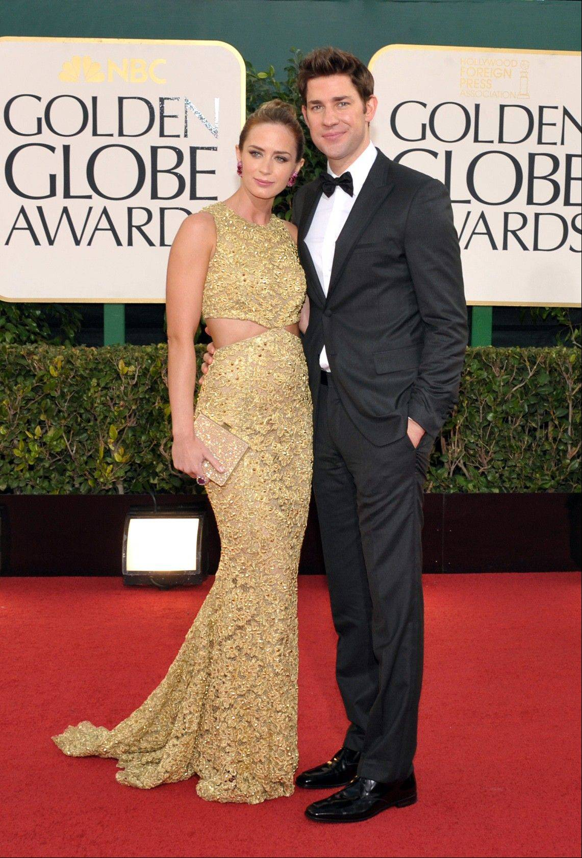 "Actress Emily Blunt and her husband, ""The Office"" star John Krasinski, arrive at the 70th Annual Golden Globe Awards at the Beverly Hilton Hotel on Sunday Jan. 13, 2013, in Beverly Hills, Calif."