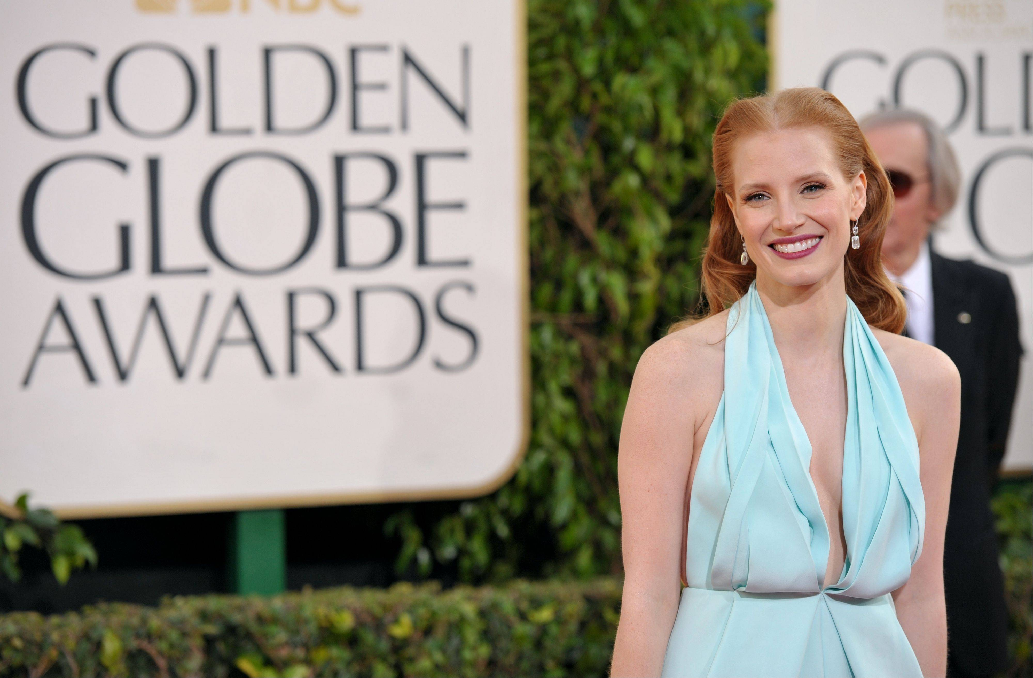"""Zero Dark Thirty"" star Jessica Chastain arrives at the 70th Annual Golden Globe Awards at the Beverly Hilton Hotel on Sunday Jan. 13, 2013, in Beverly Hills, Calif."