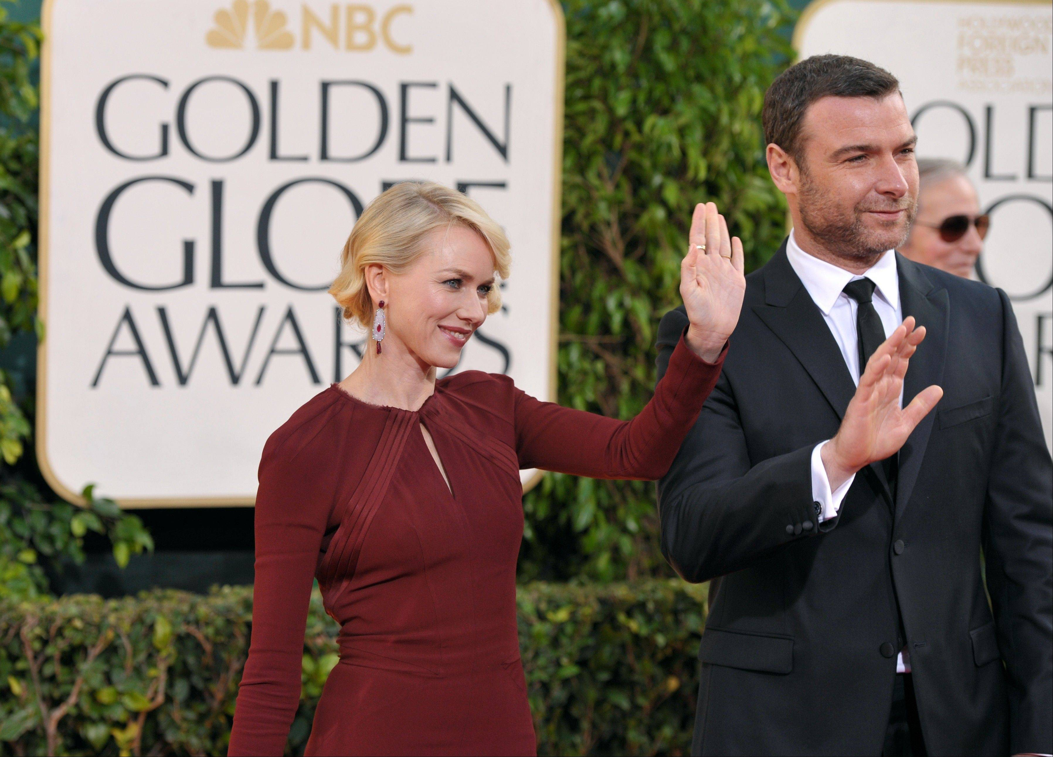 Actors Naomi Watts and Liev Schreiber arrive at the 70th Annual Golden Globe Awards at the Beverly Hilton Hotel on Sunday Jan. 13, 2013, in Beverly Hills, Calif.