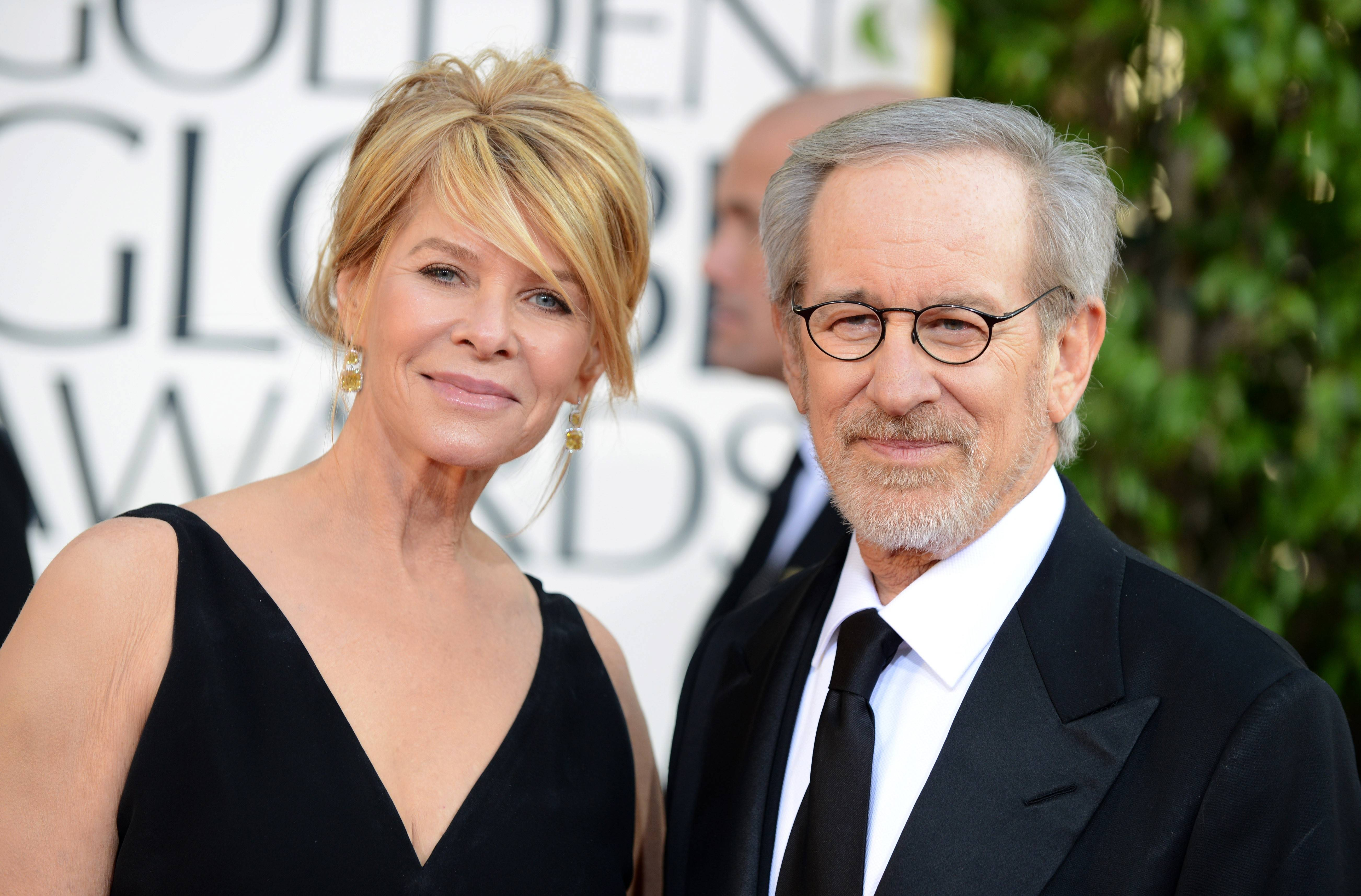 "Director Steven Spielberg and his wife, actress Kate Capshaw"" pose for the cameras."