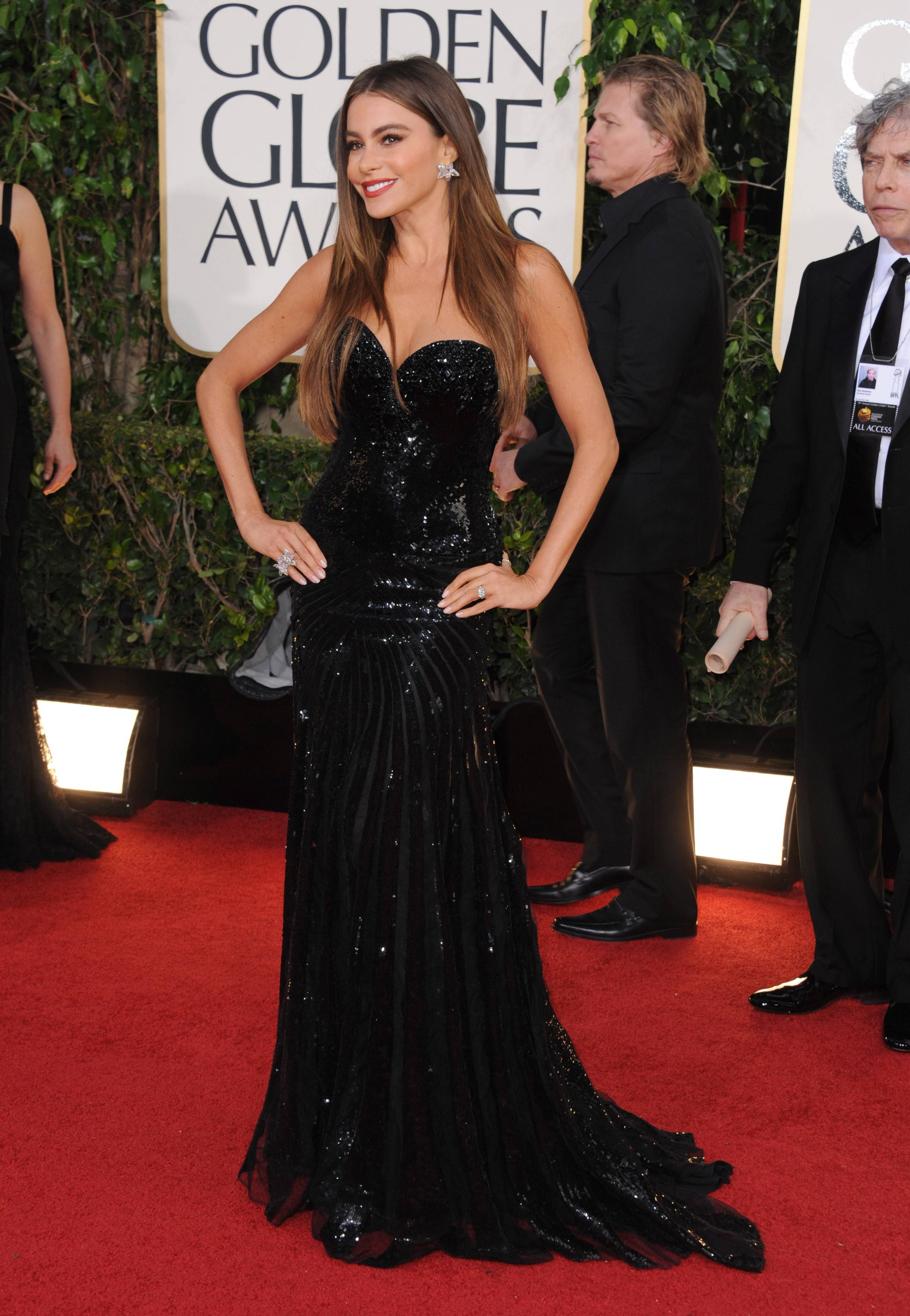 """Modern Family"" actress Sofia Vergara poses along the red carpet."