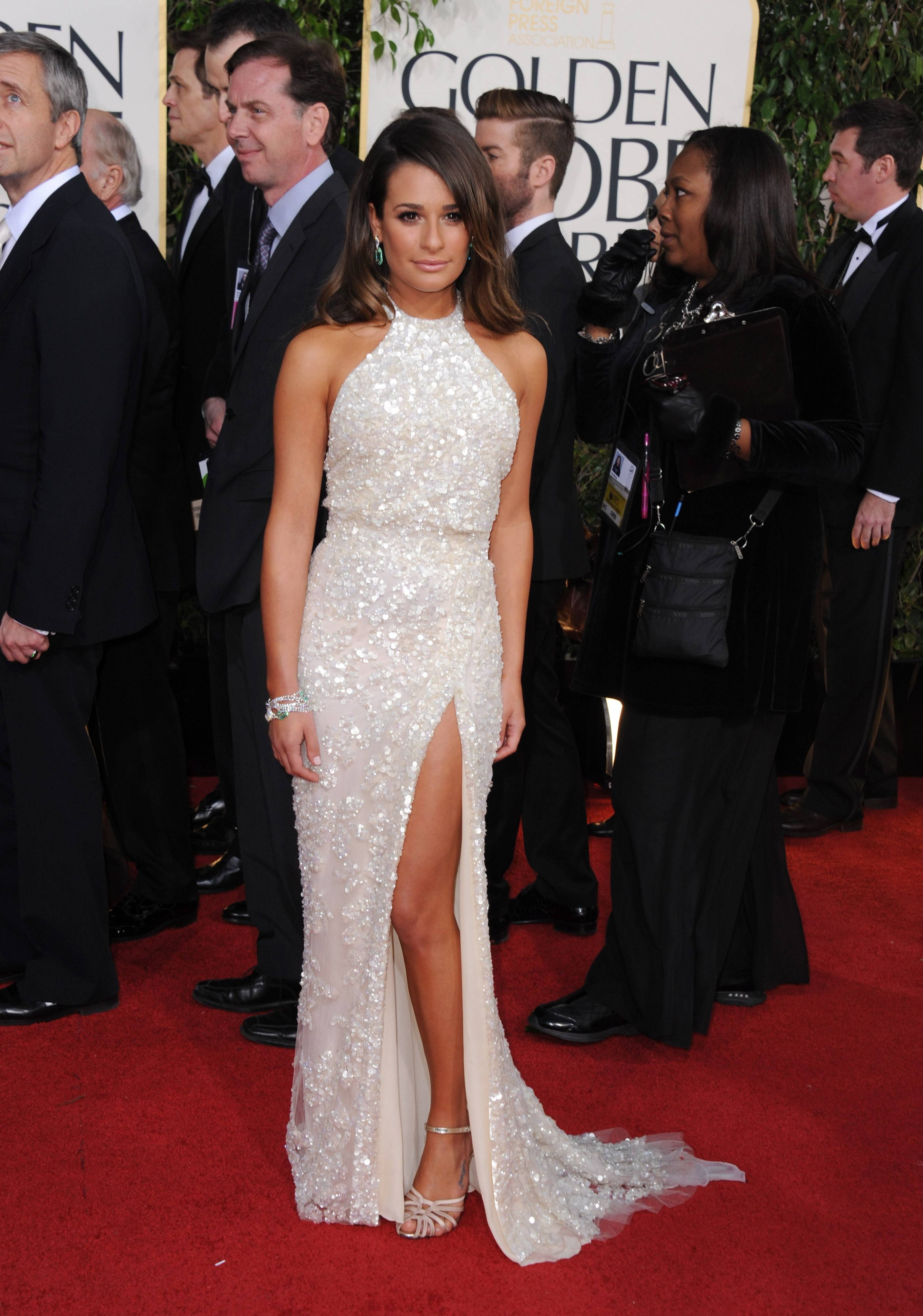 """Glee"" star Lea Michele strikes a glamorous pose before the start of the ceremony."