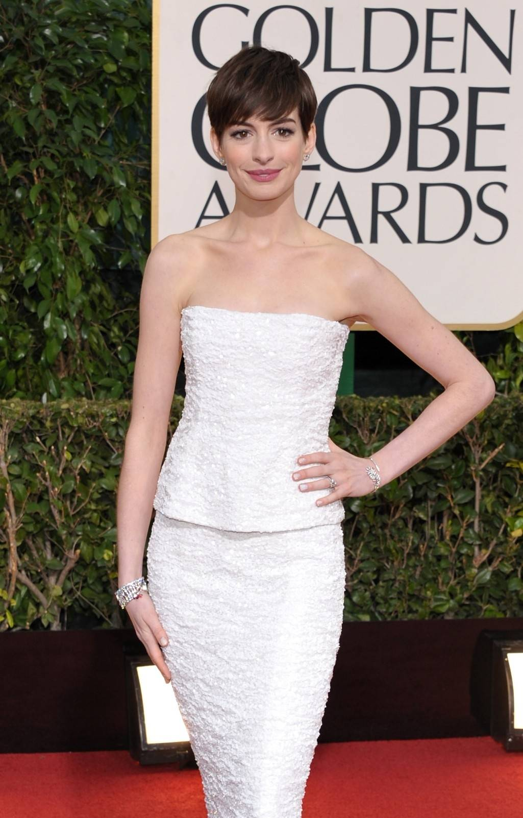 Actress and Golden Globe nominee Anne Hathaway goes for a more subdued glamour for awards night.