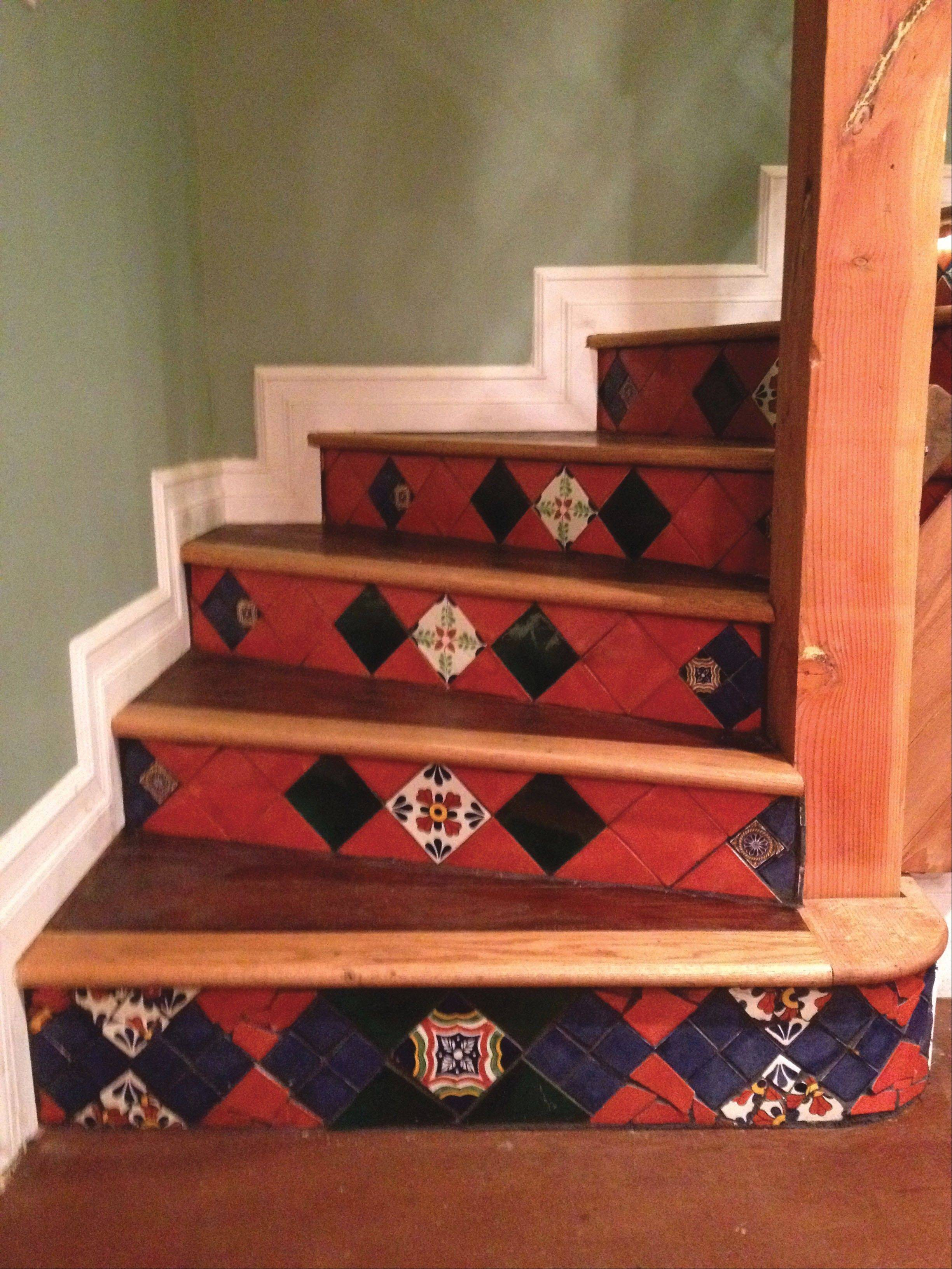 Mexican tile on stair risers make for an artistic project.
