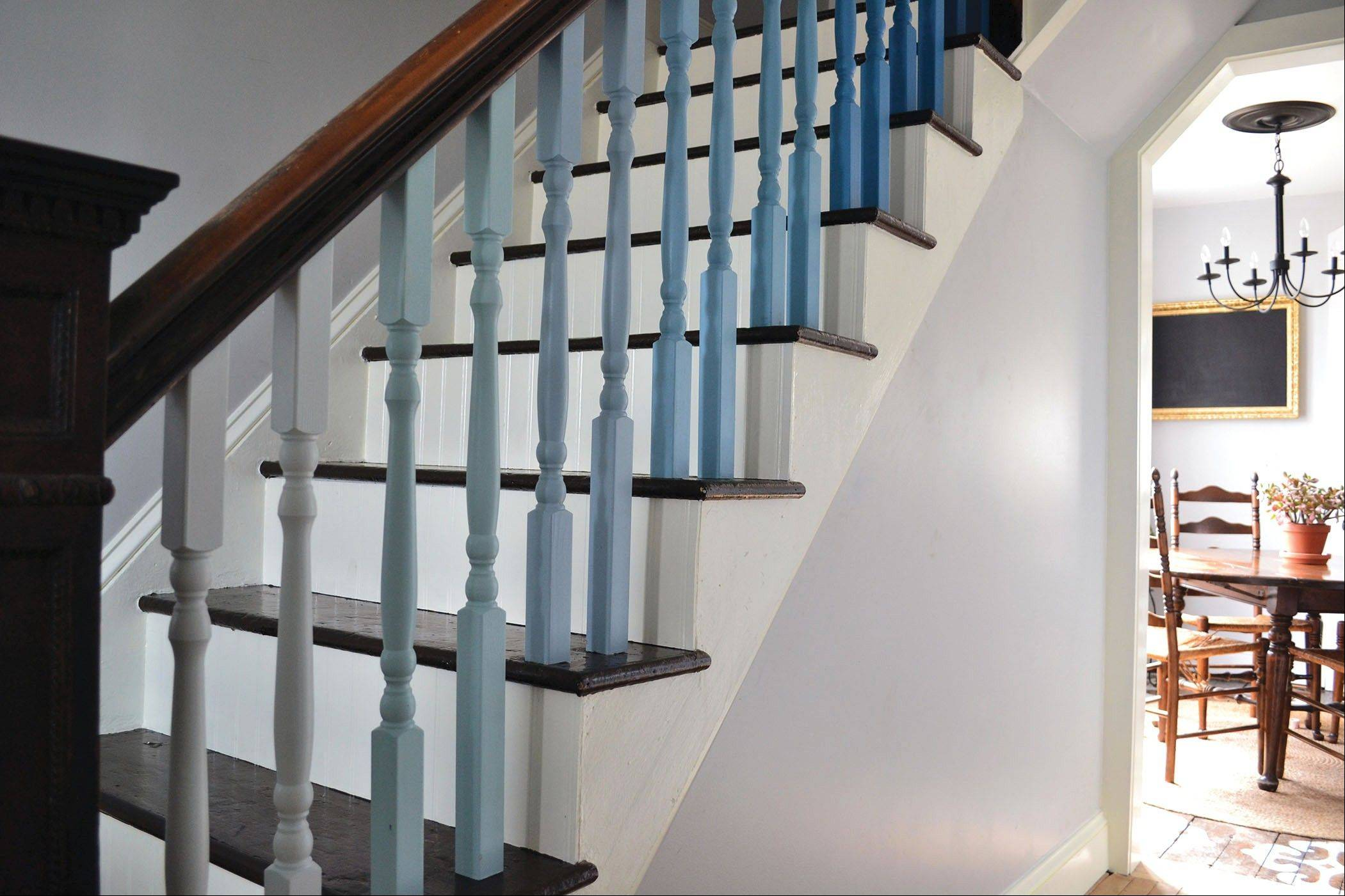 With a few swipes of a paintbrush, plain balusters can be transformed.