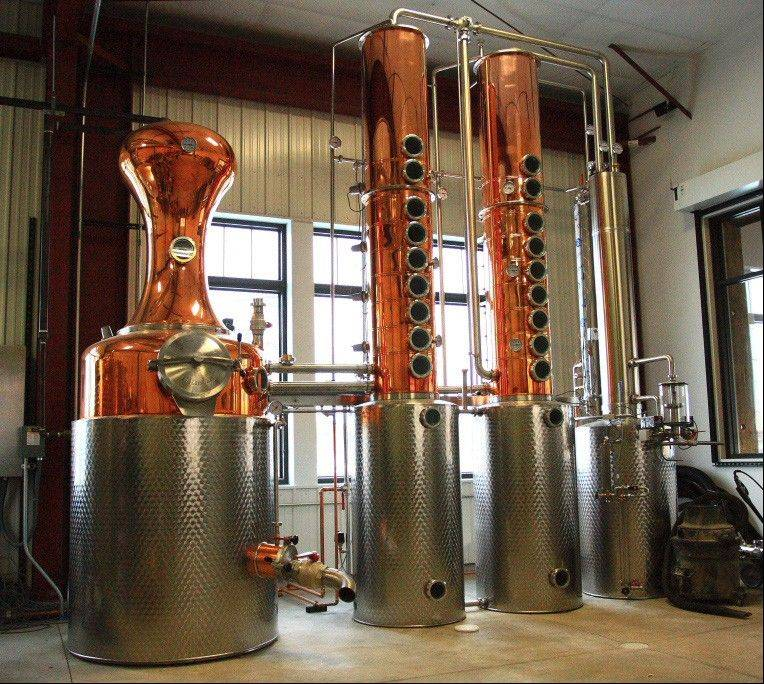 The shiny still at Mississippi River Distilling Co. was custom-made in Germany.