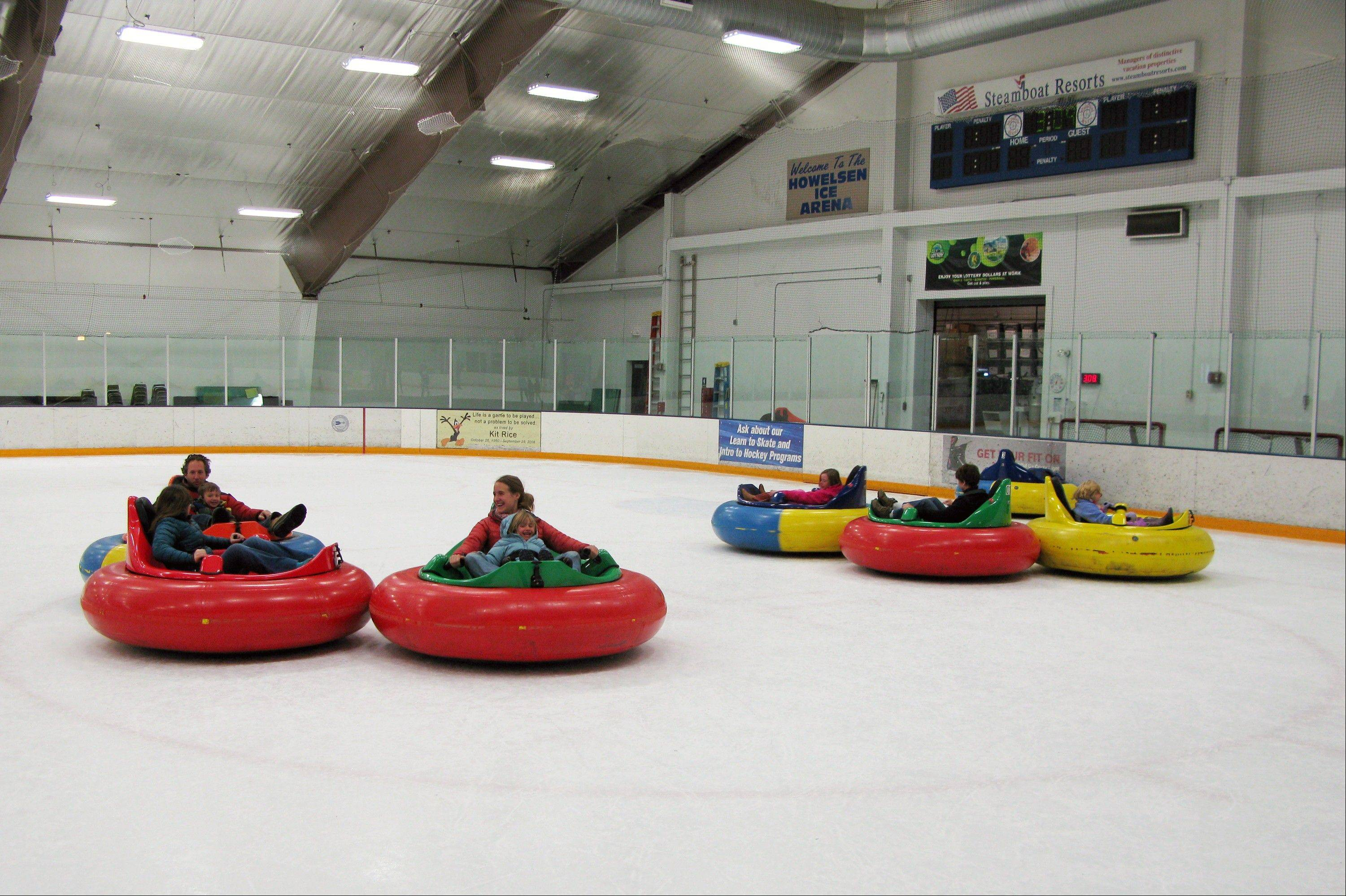 Bumper cars on ice at Howelsen Ice Arena in Steamboat Springs, Colo. Bumper cars are one of a number of relatively new diversions being offered in winter recreation destinations.