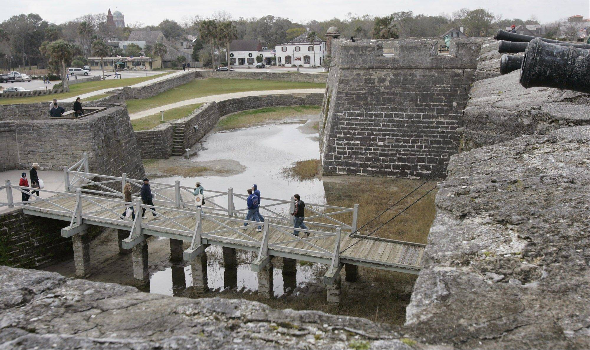 Visitors explore the Castillo de San Marcos in St. Augustine, Fla. The nation's oldest fort was built by Spanish settlers between 1672 and 1695 and used to fight off pirates, hostile natives, French, British and South Carolinian forces.