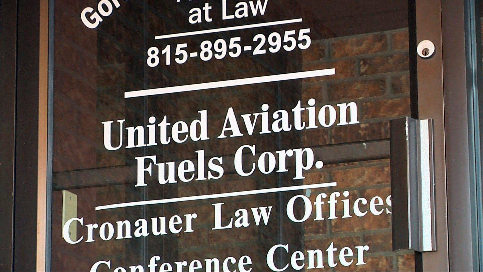 This is the door for United Aviation Fuels Corp., a subsidy of United Airlines, located in a small office building in Sycamore, Ill.
