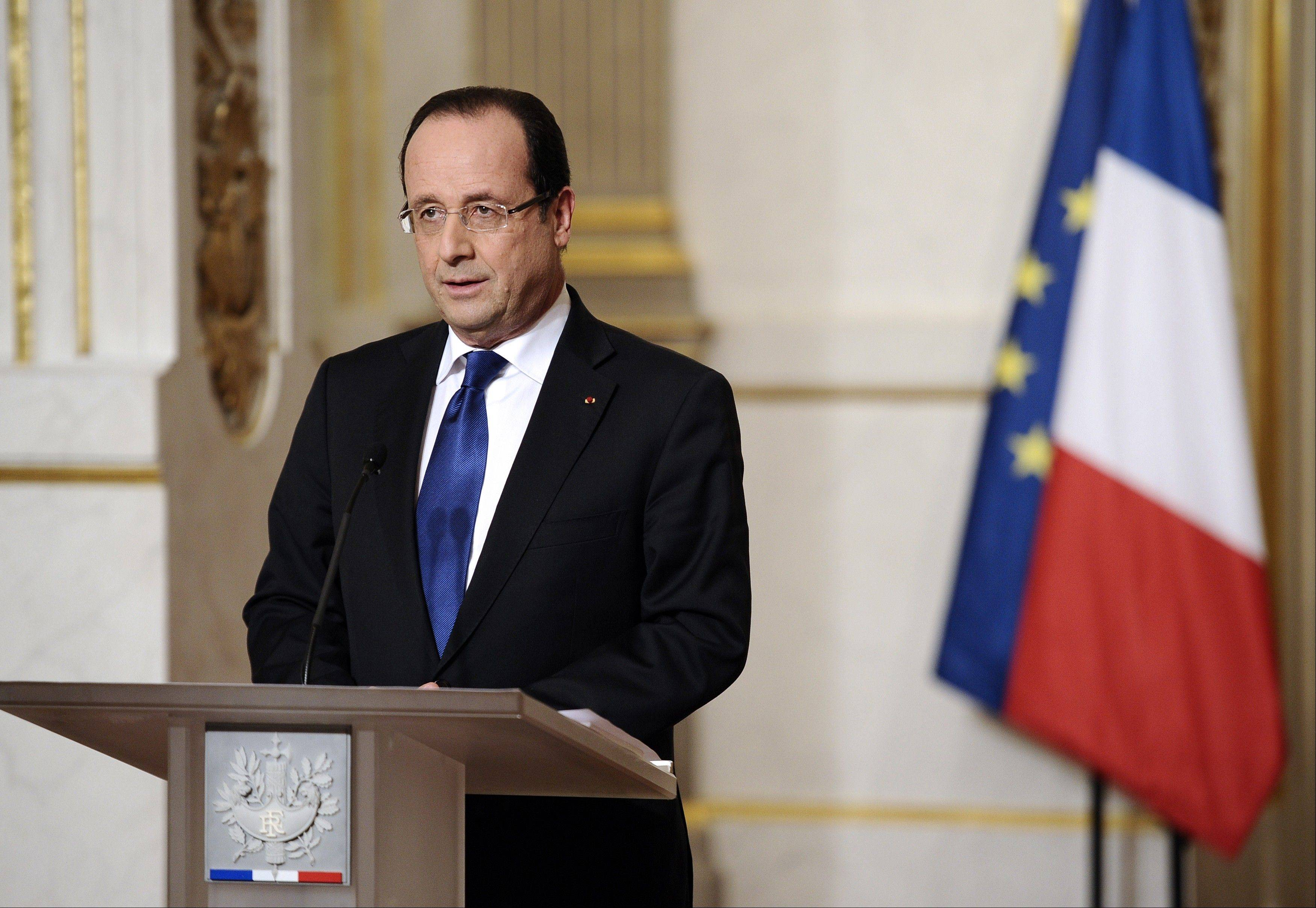 France�s president Francois Hollande gives a speech focused on the Malian situation on Saturday at the Elysee presidential palace in Paris. Backed by French air power, Malian troops on Friday unleashed an offensive against Islamist rebels who, having seized control of the north of the country in March last year, were threatening to push south. France has asked the United Nations to �accelerate� implementation of a resolution that enables the deployment of an international force to Mali.