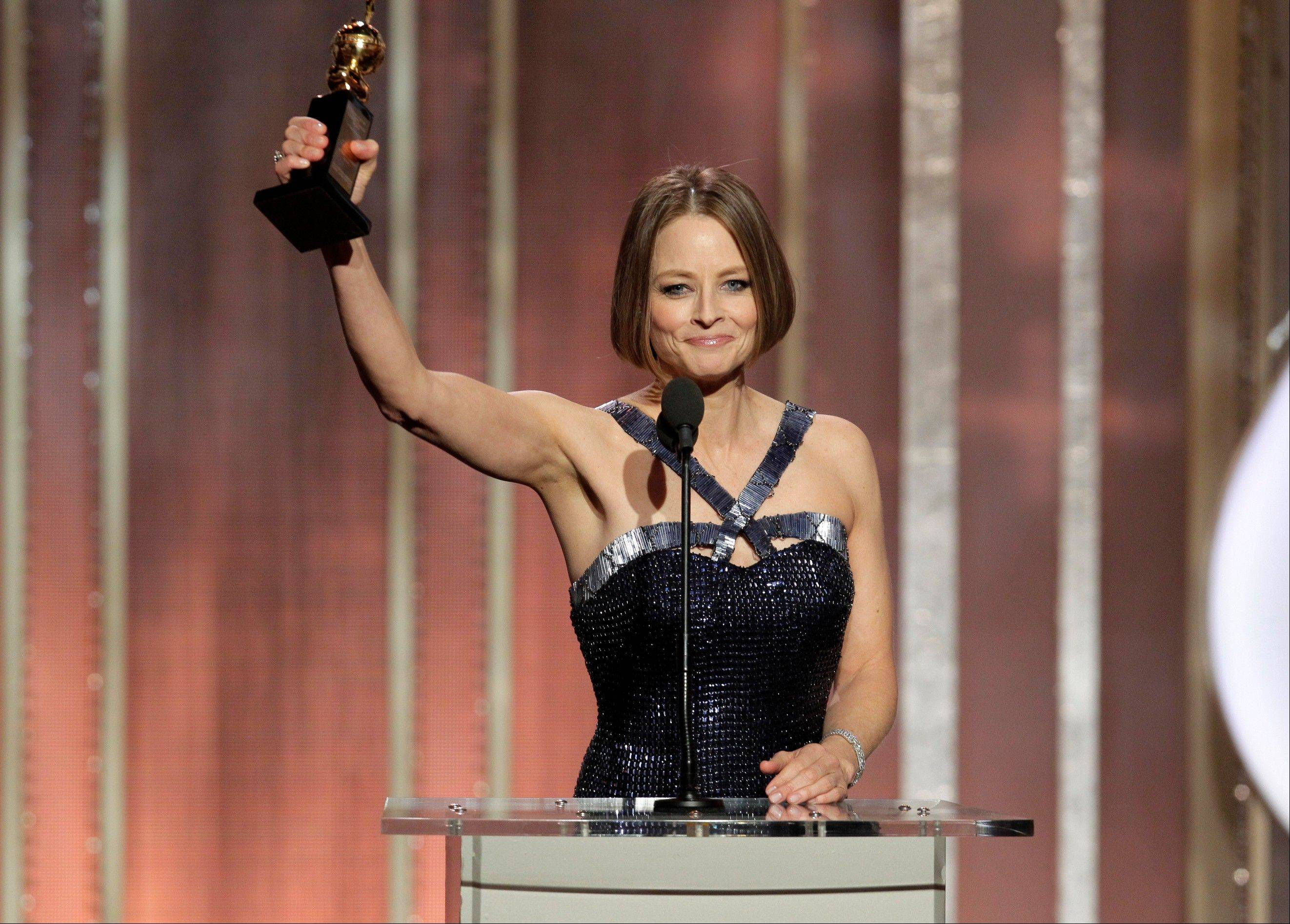 "Jodie Foster, recipient of the Cecil B. Demille Award during Sunday's 70th Annual Golden Globe Awards, said during her speech, ""I hope you're not disappointed that there won't be a big coming-out speech tonight. I already did my coming-out about a thousand years ago back in the Stone Age."""