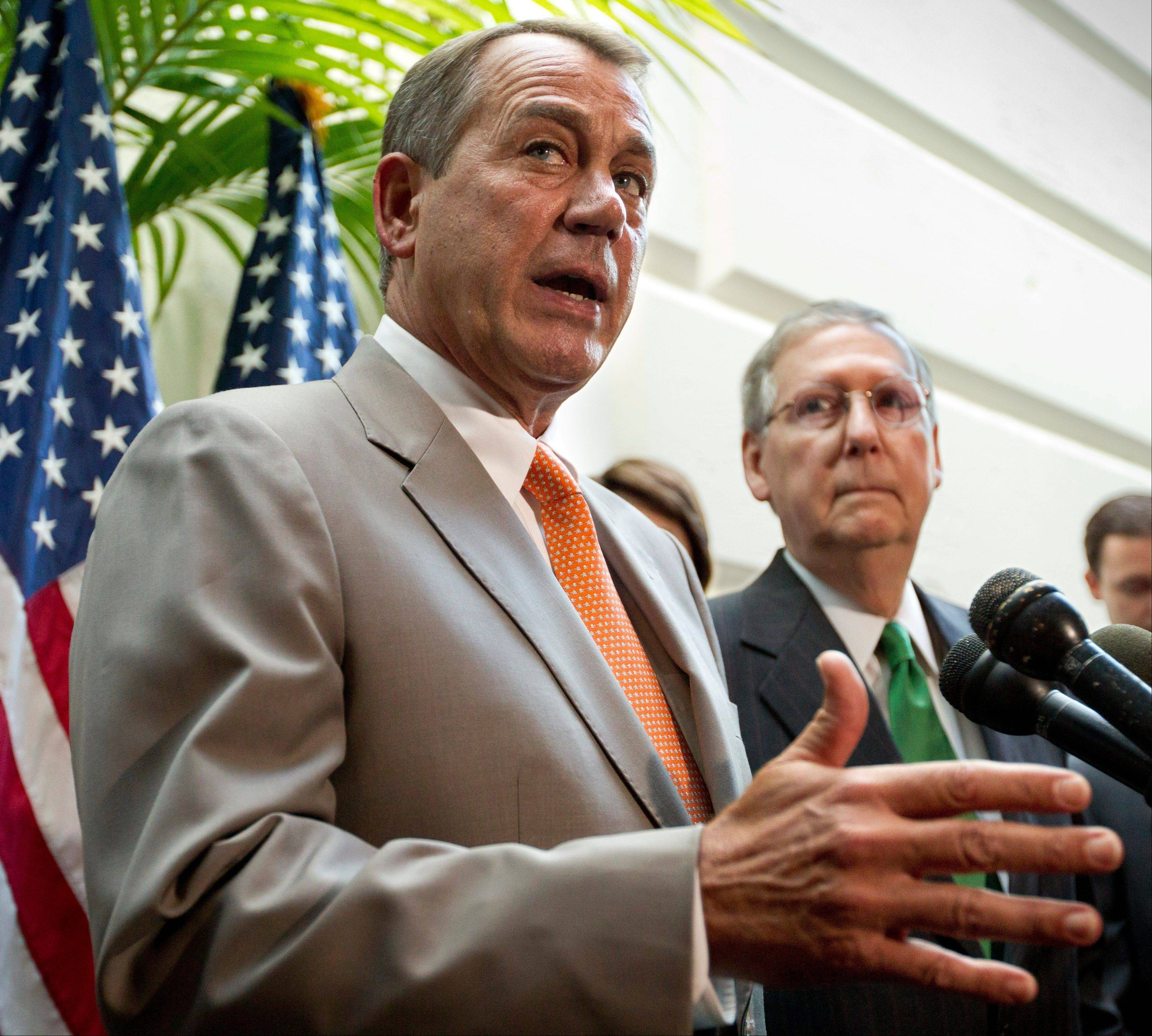 House Speaker John Boehner, seen here accompanied by Senate Minority Leader Mitch McConnell, right, admitted Monday that failing to lift the so-called debt ceiling would have bad consequences.