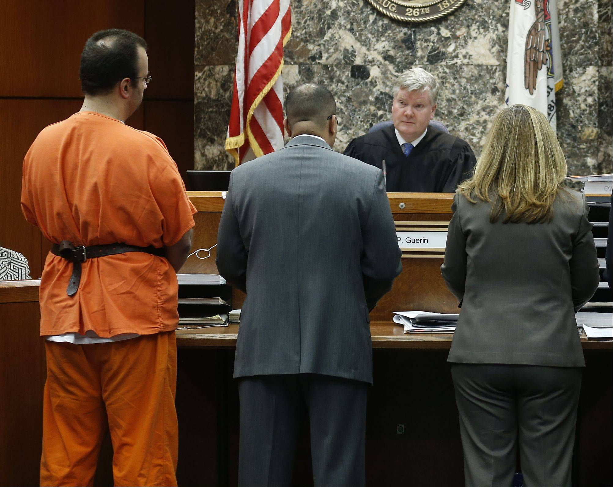 Joseph Spitalli, left, defense attorney George A. Ford, Assistant State's Attorney Cathy DeLaMar and Assistant State's Attorney Kirsten King appear before Judge Daniel P. Guerin at the DuPage County Courthouse in Wheaton.