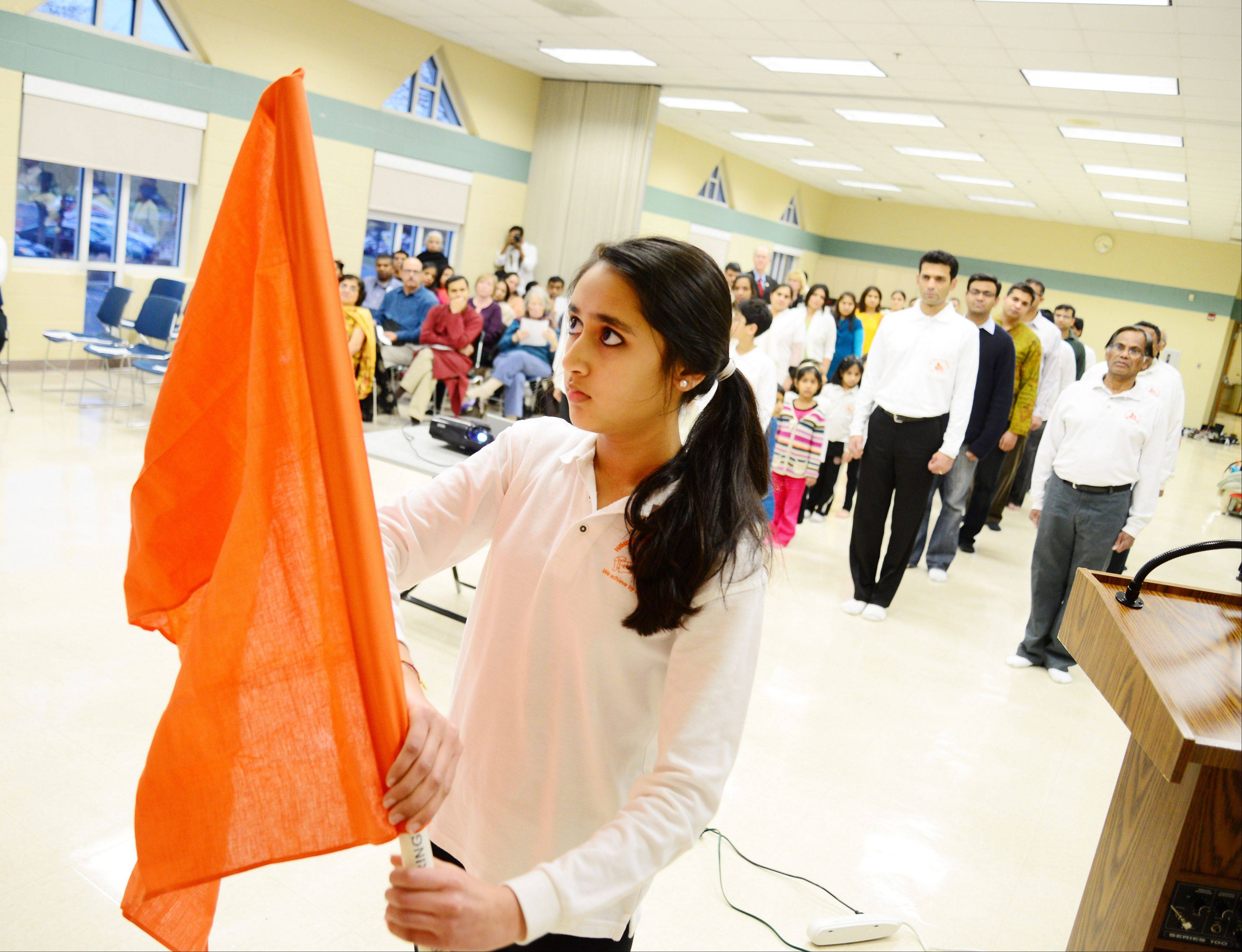 Pragya Maheshwari of Naperville prepared the flag while the Naperville-Aurora chapter of HSS celebrated the 150th birth anniversary of Swami Vivekananda.
