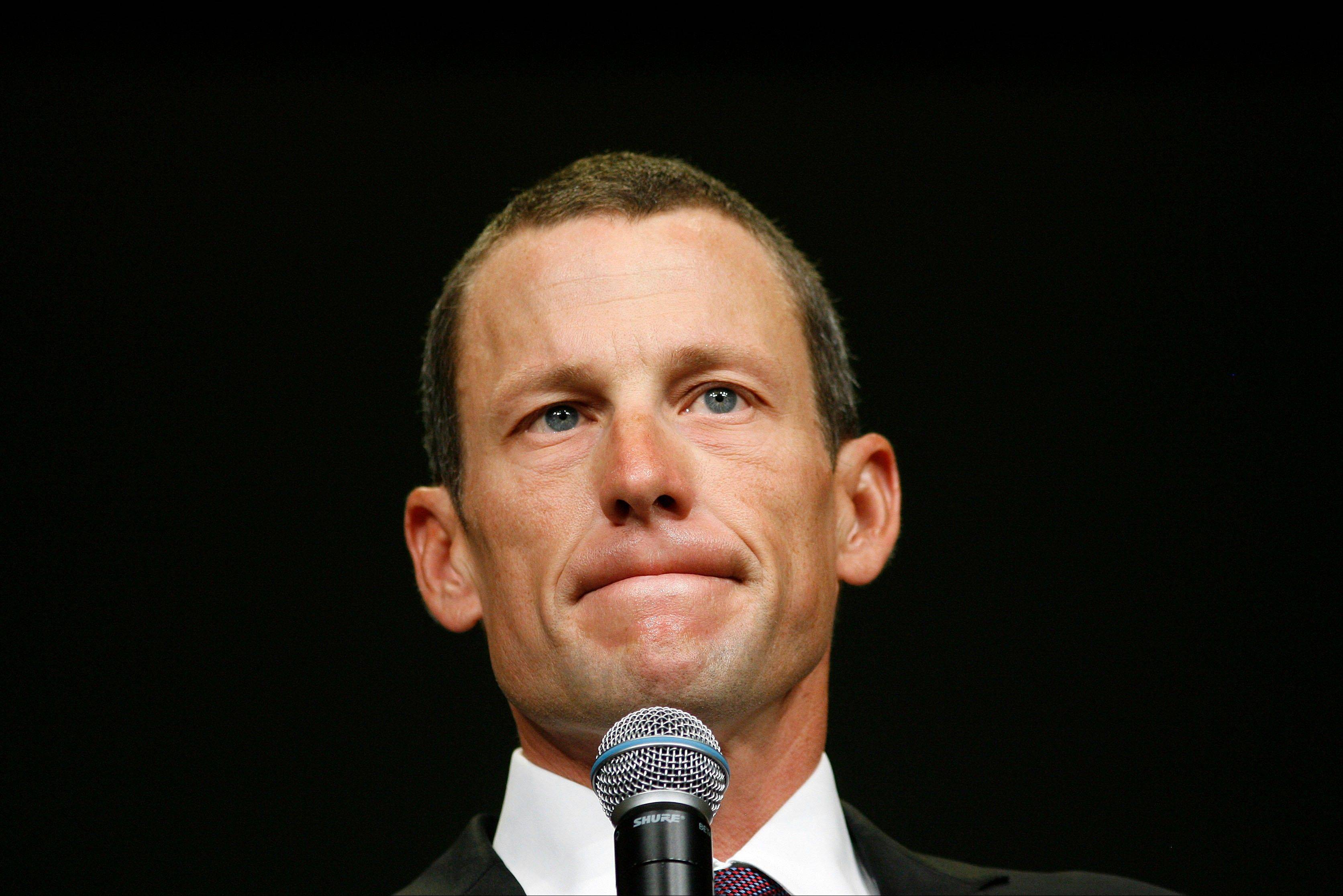 Lance Armstrong spoke to the Livestrong staff on Monday before he slipped away for an interview at a hotel with Oprah Winfrey.