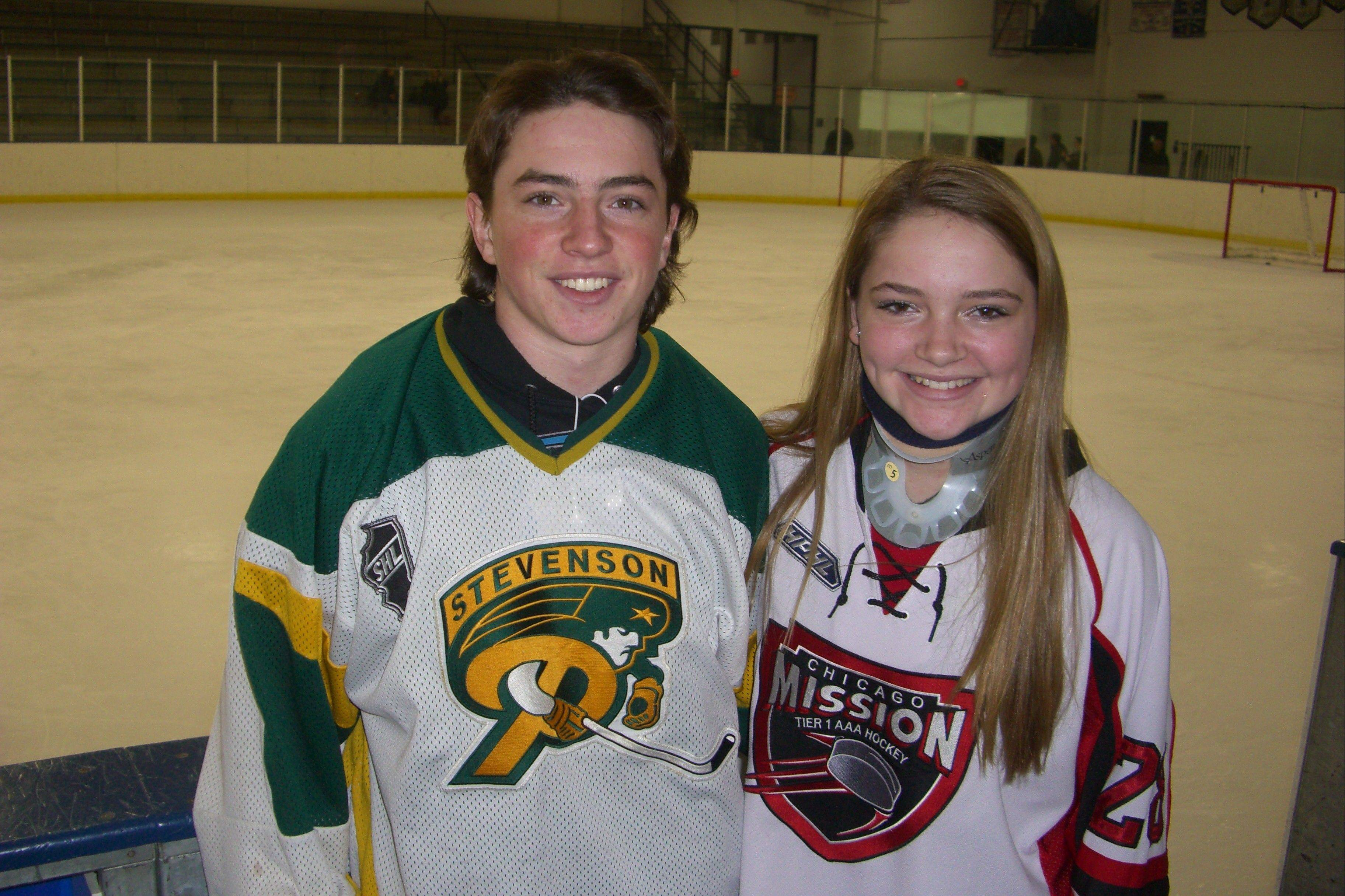Eighth-grader Courtney Patten, who suffered a broken neck during a hockey practice last fall, has been resigned, for now, to cheering on her brother, Stevenson junior Trevor Patten.