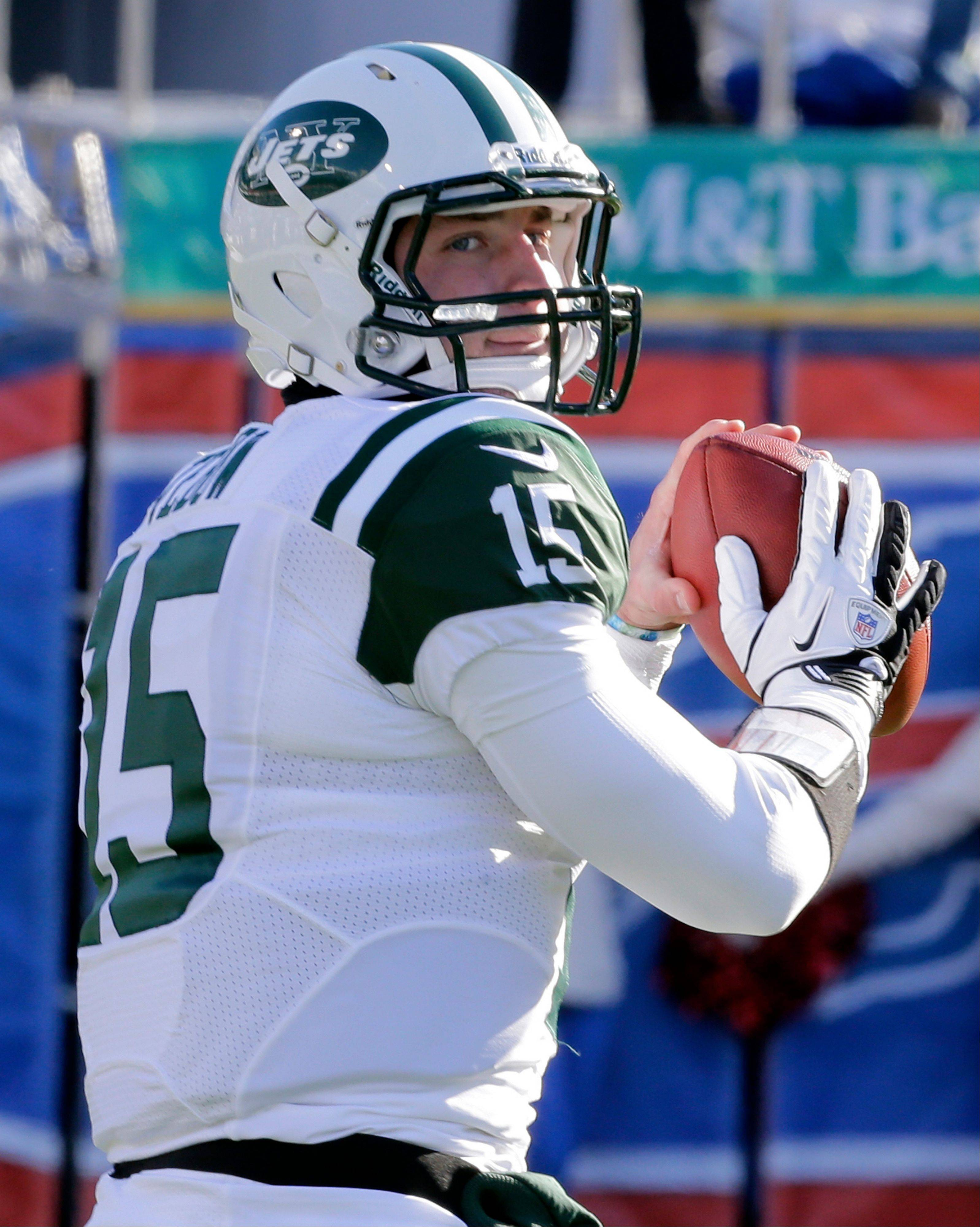 FILE - In a Sunday, Dec. 30, 2012, file photo, New York Jets quarterback Tim Tebow (15) warms up before of an NFL football game against the Buffalo Bills, in Orchard Park, N.Y. Likely done in New York after one frustrating season and Jacksonville already saying no to a happy homecoming, what's next for Tebow, one of the league's most popular and polarizing players? A backup role on another NFL team? A position change? The Canadian Football League? Well, even Tebow isn't sure. (AP Photo/Gary Wiepert, File)