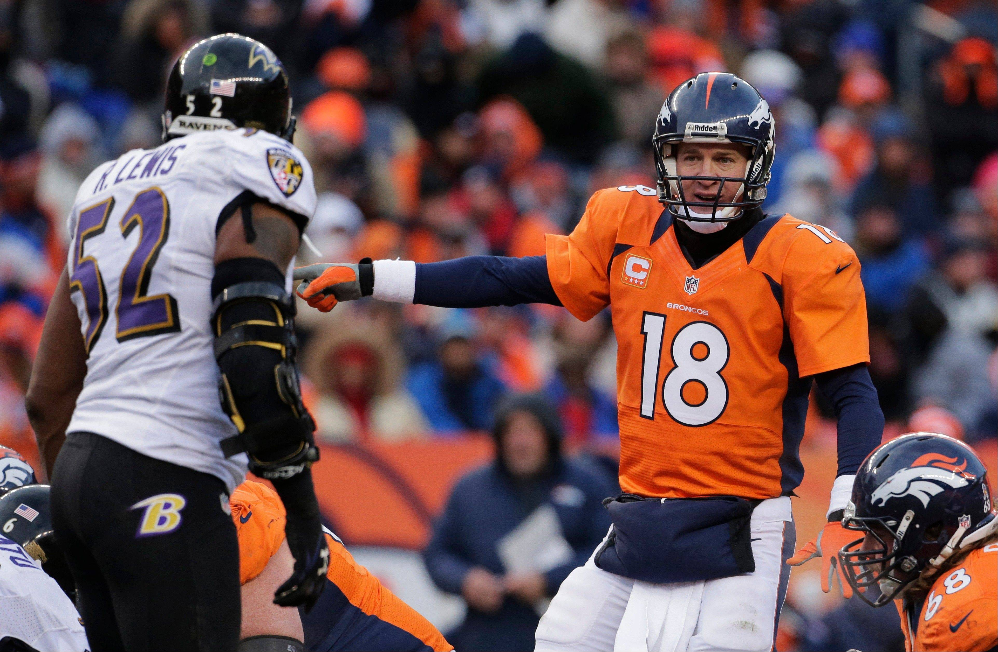 Baltimore Ravens linebacker Ray Lewis will move on in the playoffs, and Denver Broncos quarterback Peyton Manning's season is over. Manning has lost eight times in the first-round.