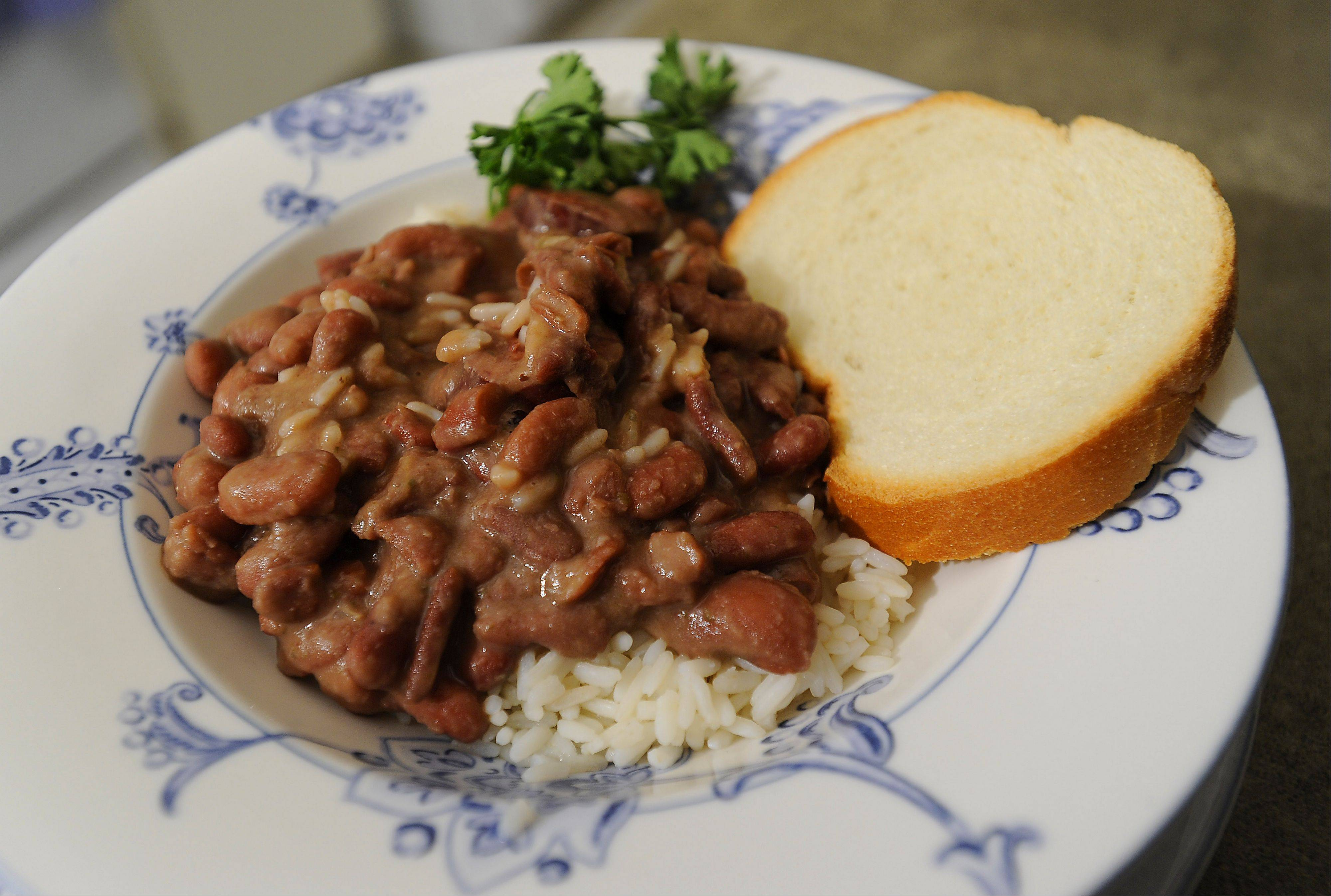 Andrew Ledet of Elk Grove Village's red beans and rice dish.