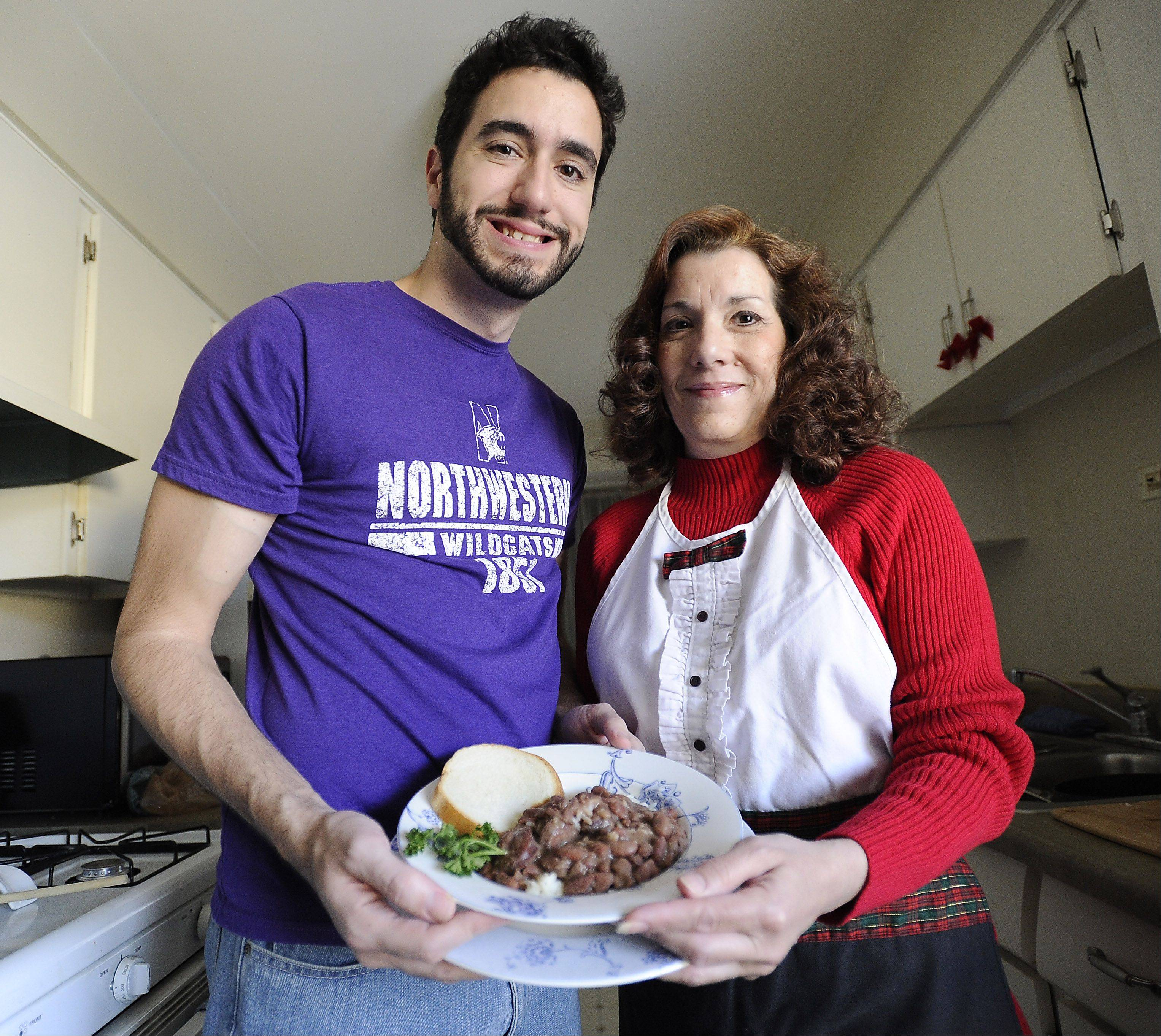 Andrew Ledet and his mom, Diane Ledet, have learned to work together in their small Elk Grove Village kitchen.