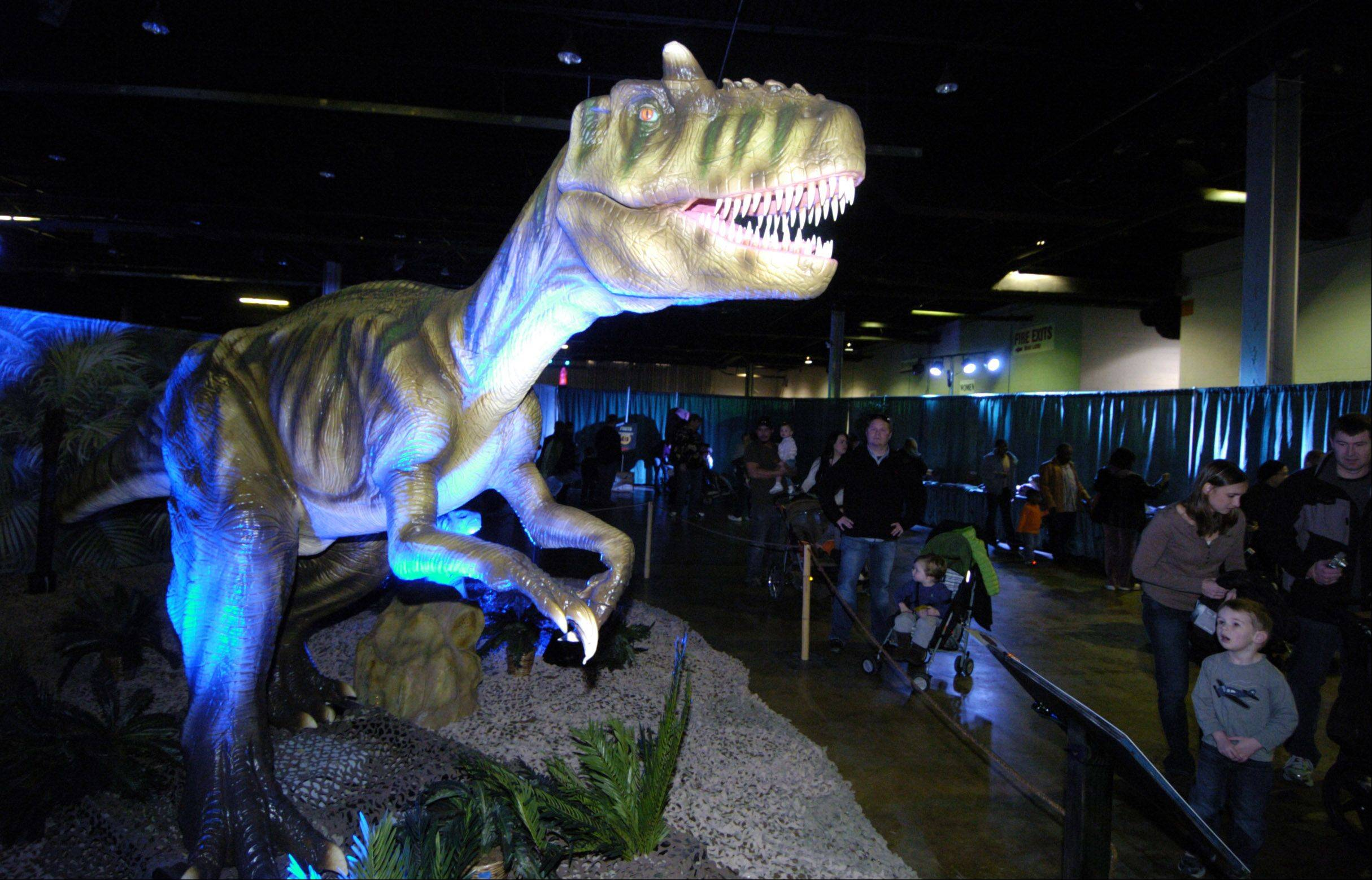 "An animatronic model of an allosaurus comes to life during the ""Discover the Dinosaurs"" show, which returns to the Donald E. Stephens Convention Center in Rosemont."