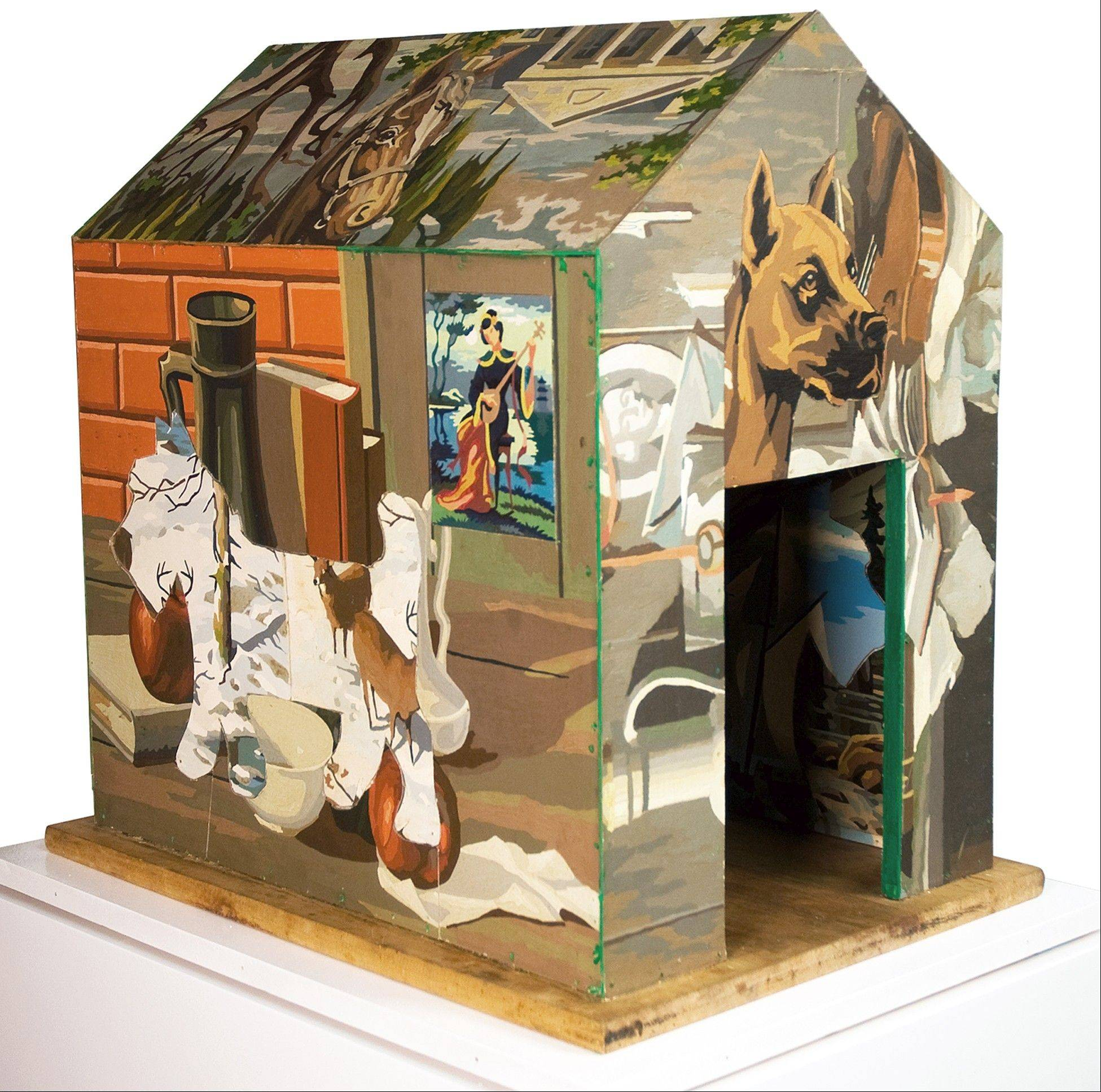 "Don Baum's ""Rin Tin Tin and the Peon"" is part of the Elmhurst Art Museum exhibit ""Open House: Art About Home."""