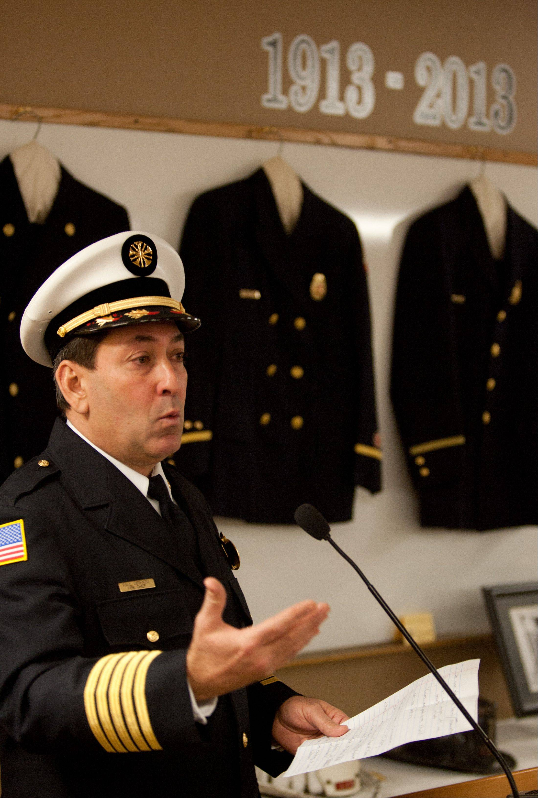 Lombard Fire Chief Paul DiRienzo welcomes a crowd to the department's 100th anniversary celebration Jan. 3 at Station 1.