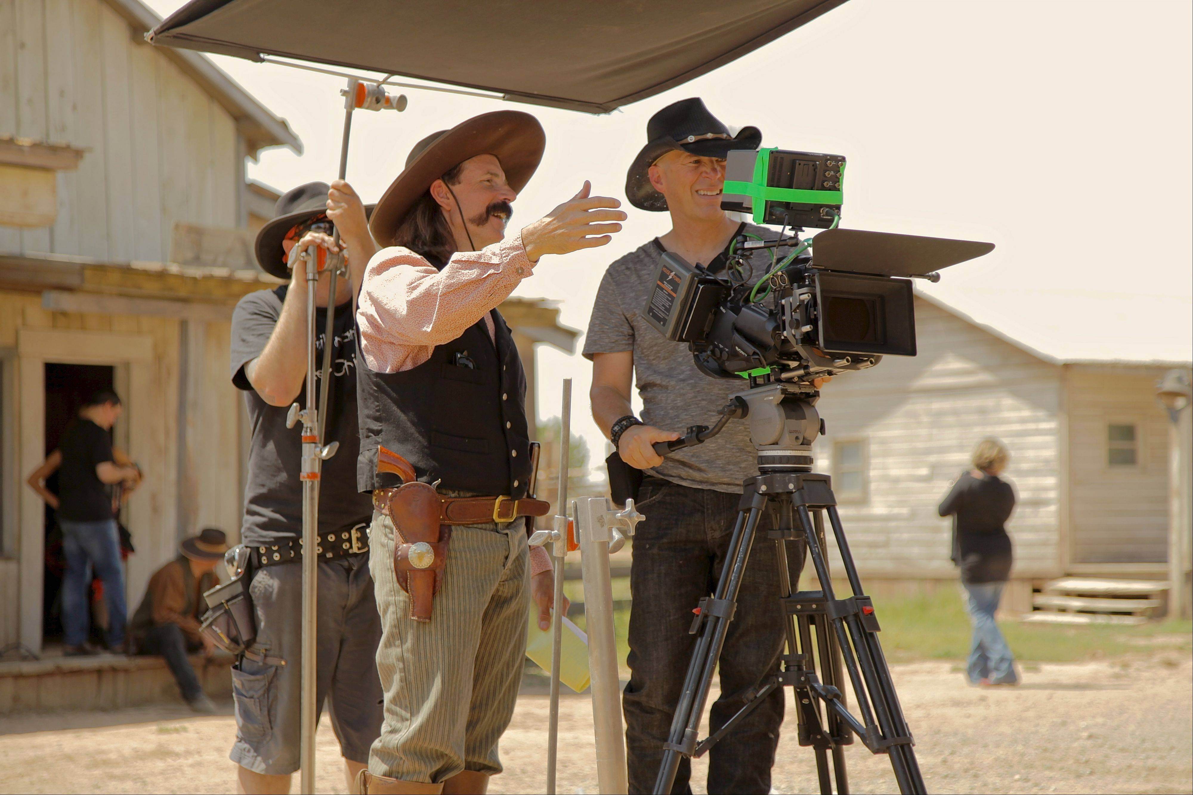 "Schaumburg High School grad Paola Cascio shoots a music video with actor Thadd Turner at the old west town at Bonanza Creek Ranch in Santa Fe where ""Cowboys and Aliens"" was shot."