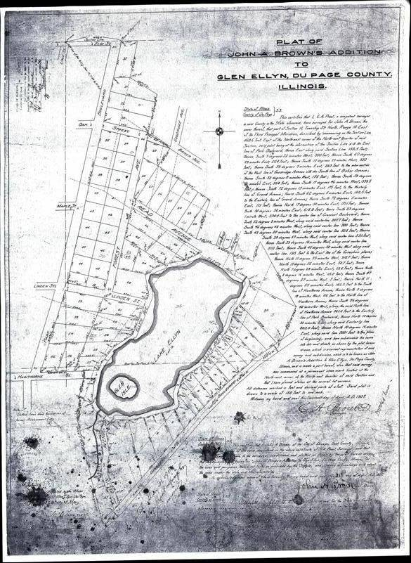 A 1907 plat of survey of the area around Lake Ellyn shows how the former property of the Glen Ellyn Hotel was subdivided into lots intended for homes. But the lots never sold, and much of the land eventually became Lake Ellyn Park.
