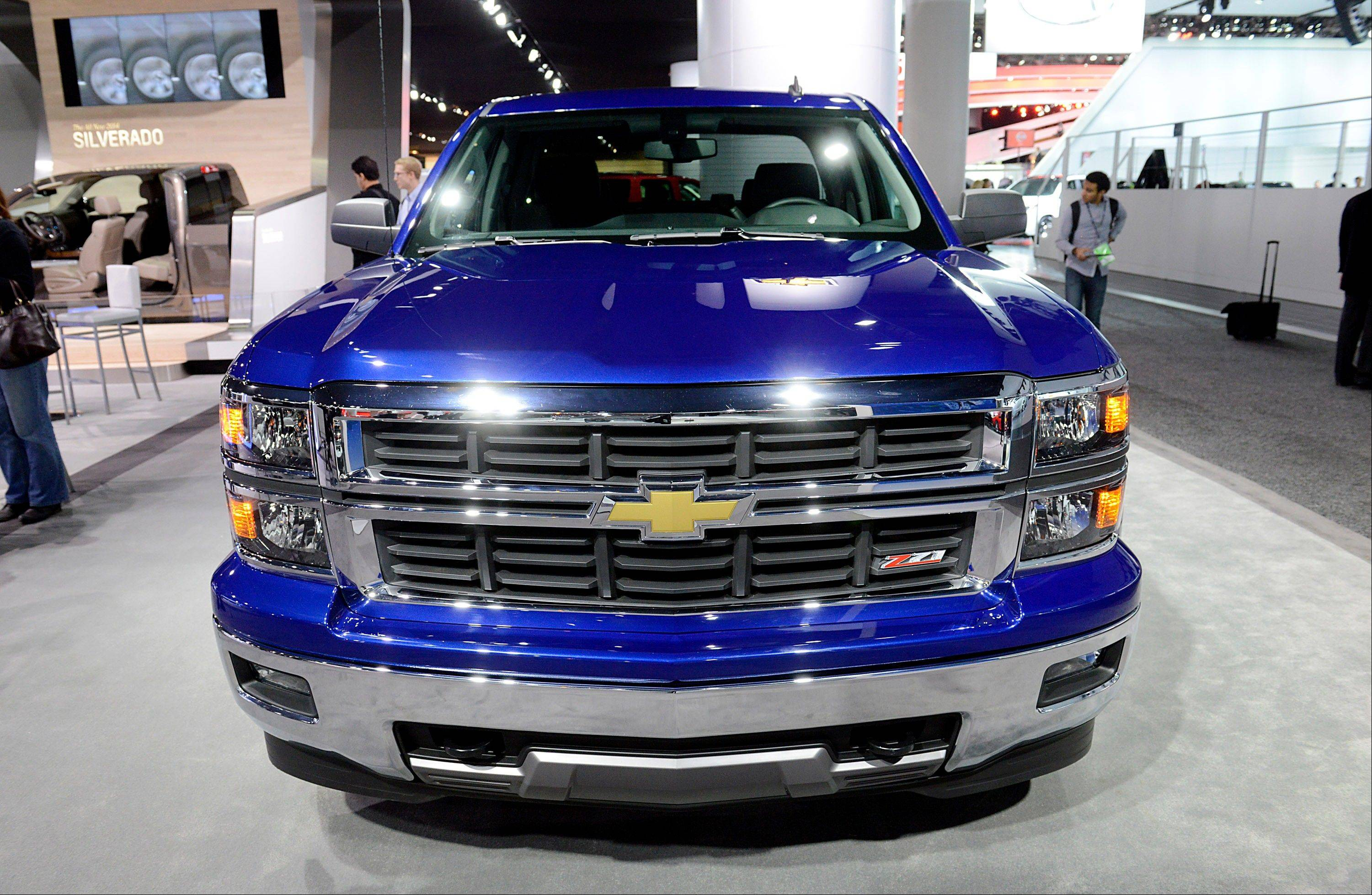 The 2014 Chevrolet Silverado truck is displayed during the 2013 North American International Auto Show (NAIAS) in Detroit, Michigan, U.S., on Tuesday, Jan. 15, 2013. The Detroit auto show runs through Jan. 27 and will display over 500 vehicles, representing the most innovative designs in the world.