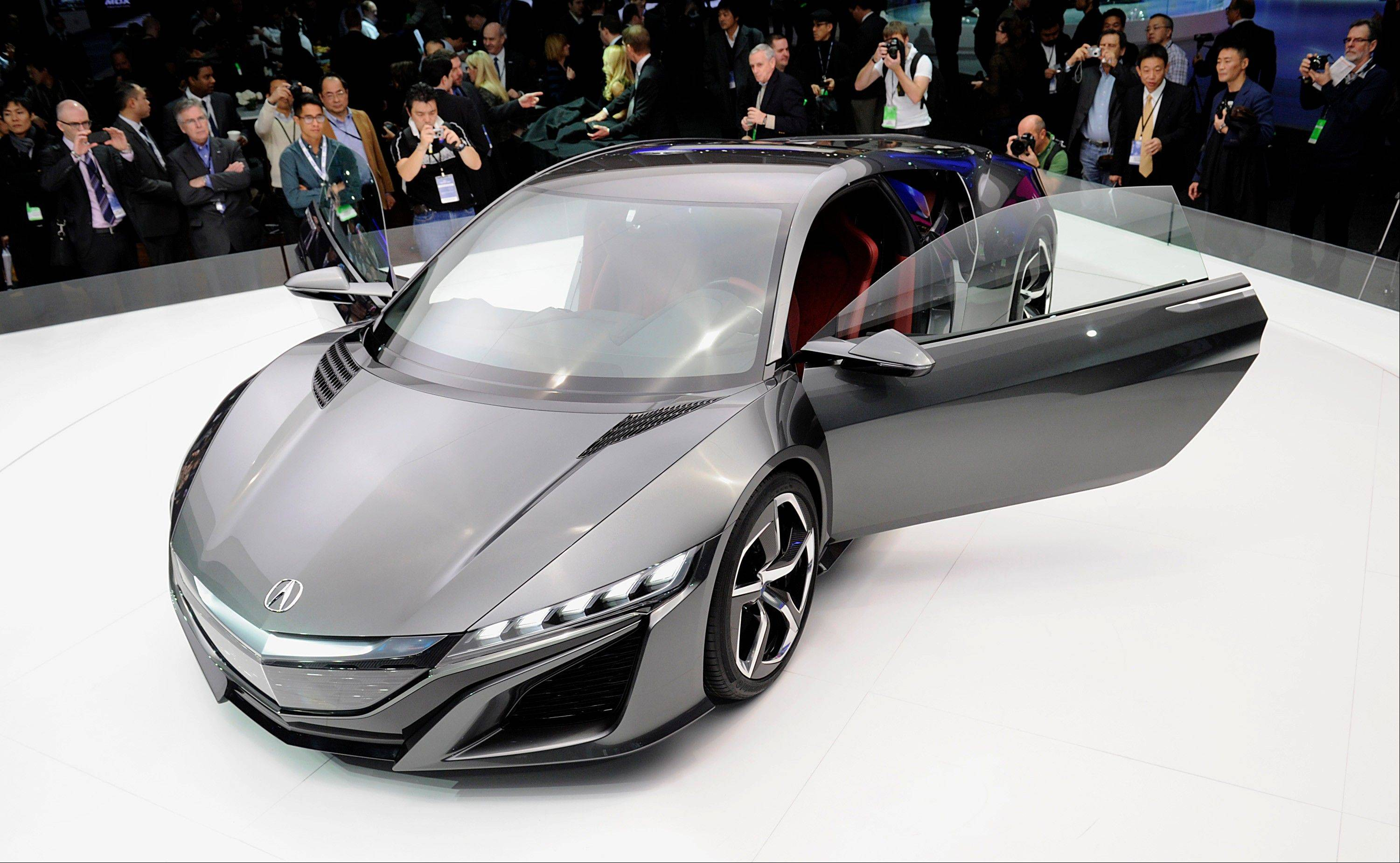 The Honda Motor Co. 2015 Acura NSX concept vehicle is displayed during the 2013 North American International Auto Show (NAIAS) in Detroit, Michigan, U.S., on Tuesday, Jan. 15, 2013.