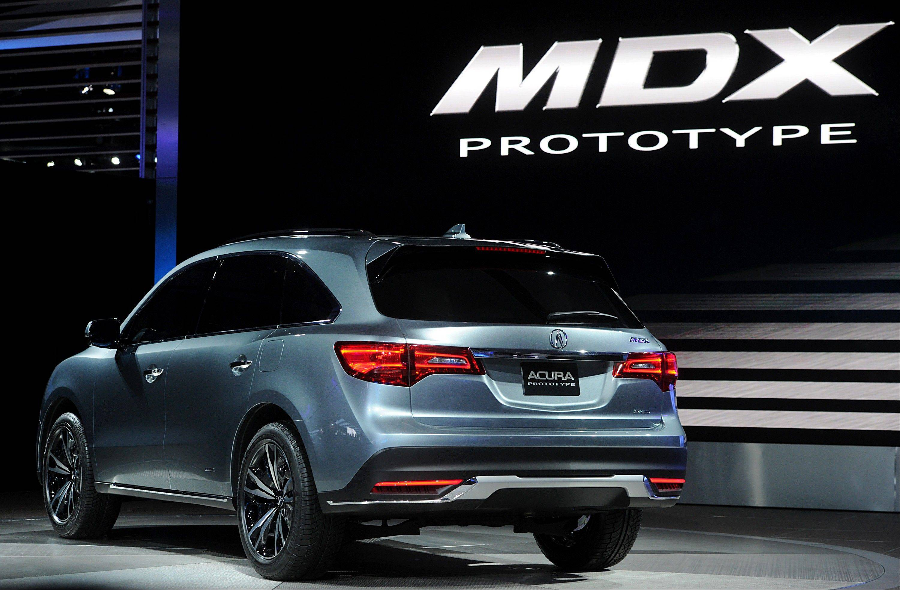 The Honda Motor Co. Acura MDX prototype vehicle is displayed during the 2013 North American International Auto Show (NAIAS) in Detroit, Michigan, U.S., on Tuesday, Jan. 15, 2013.