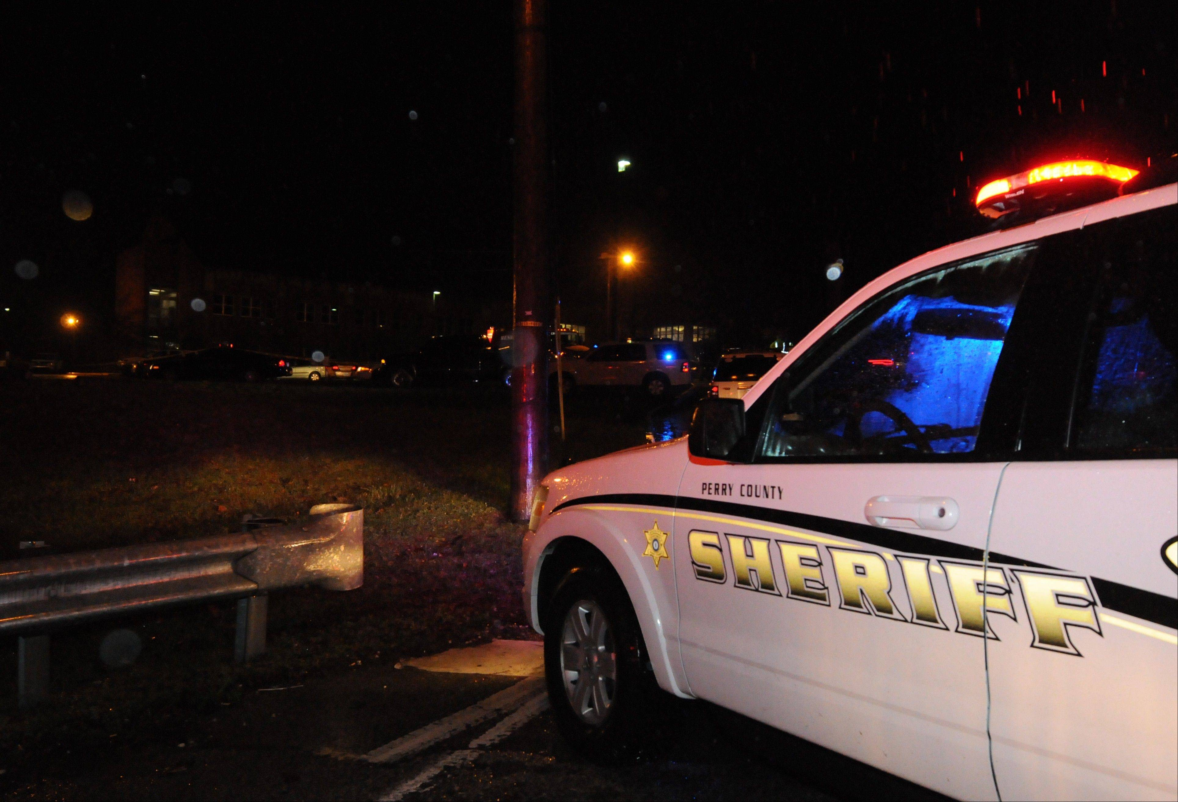 Members of the Perry County Sheriff Office respond to the scene at Hazard Community College on Tuesday night.