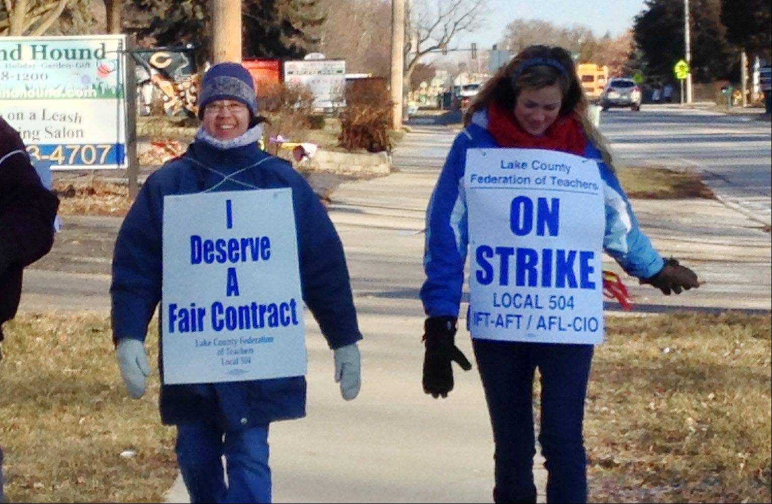 Grayslake Elementary District 46 teachers hit the picket line Wednesday after talks between their union and the school board broke down.