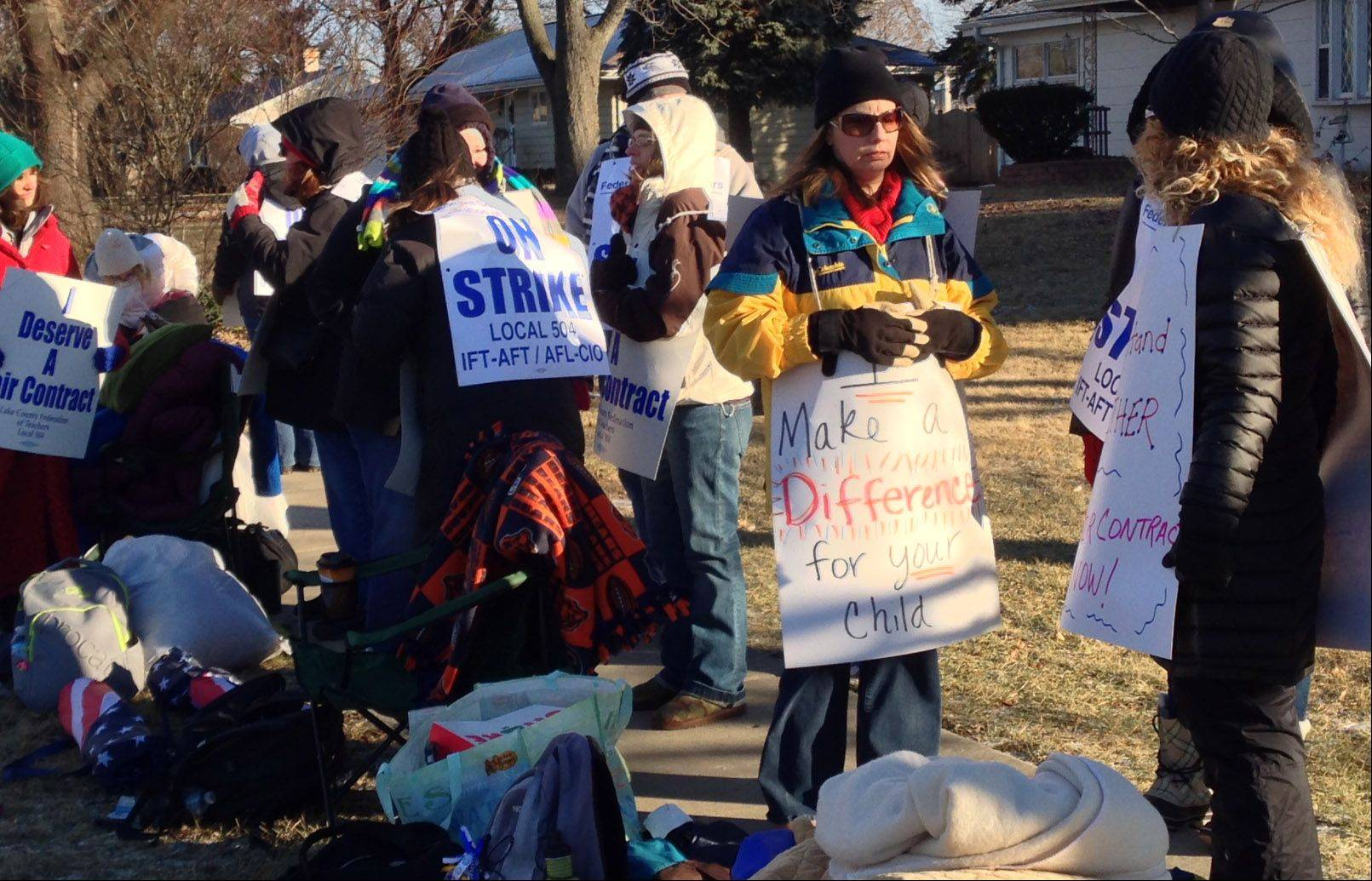 Grayslake Elementary District 46 teachers came prepared with cold weather clothing as they hit the picket line Wednesday morning.