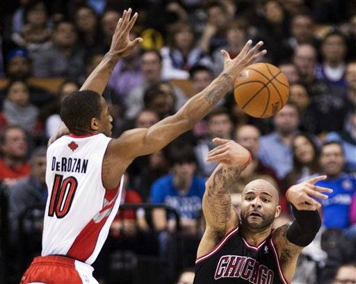 Luol Deng hit a tiebreaking jumper with 3 seconds left in overtime and the Chicago Bulls beat Toronto 107-105 in overtime on Wednesday night, their eighth victory in nine meetings against the Raptors.
