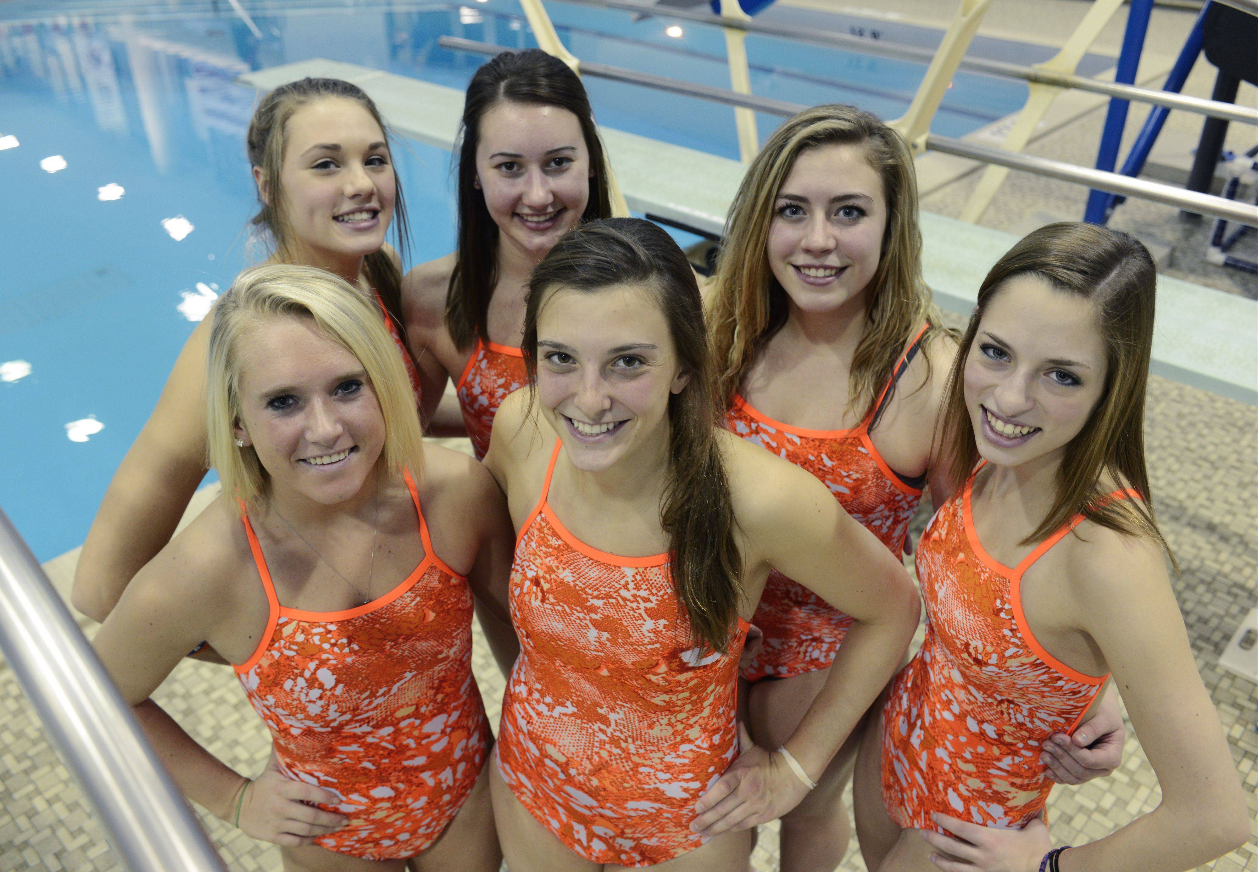 The Hersey girls diving team featuring, front row, left to right, Rachael Duda, Allison Neff and Megan Nocita, and back row, Annie Johnson, Hannah Bovino and Kelly Haines, outscored each of its dual meet opponents this season.