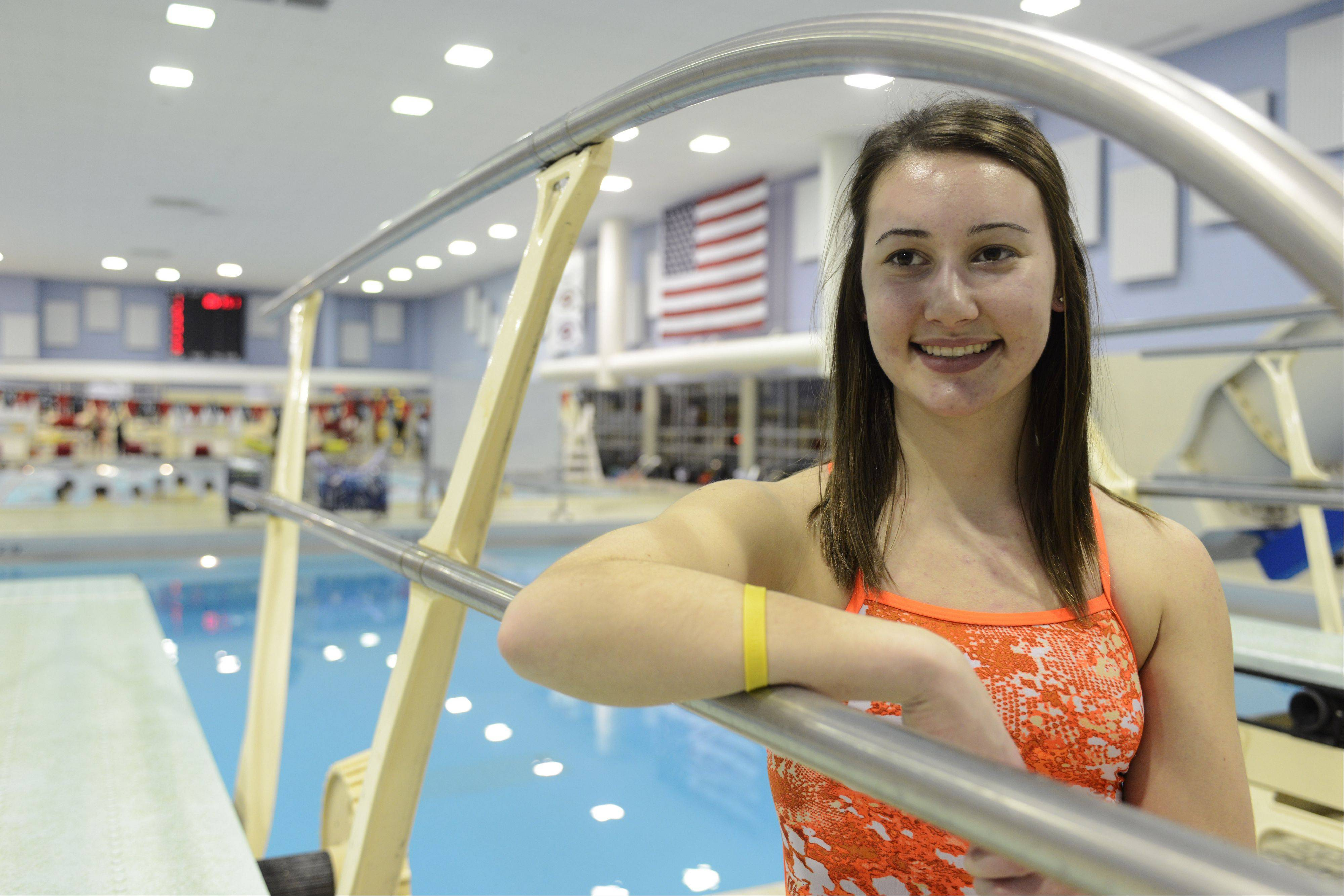 Hannah Bovino, team captain and a state qualifier last year with the Hersey girls' diving program.