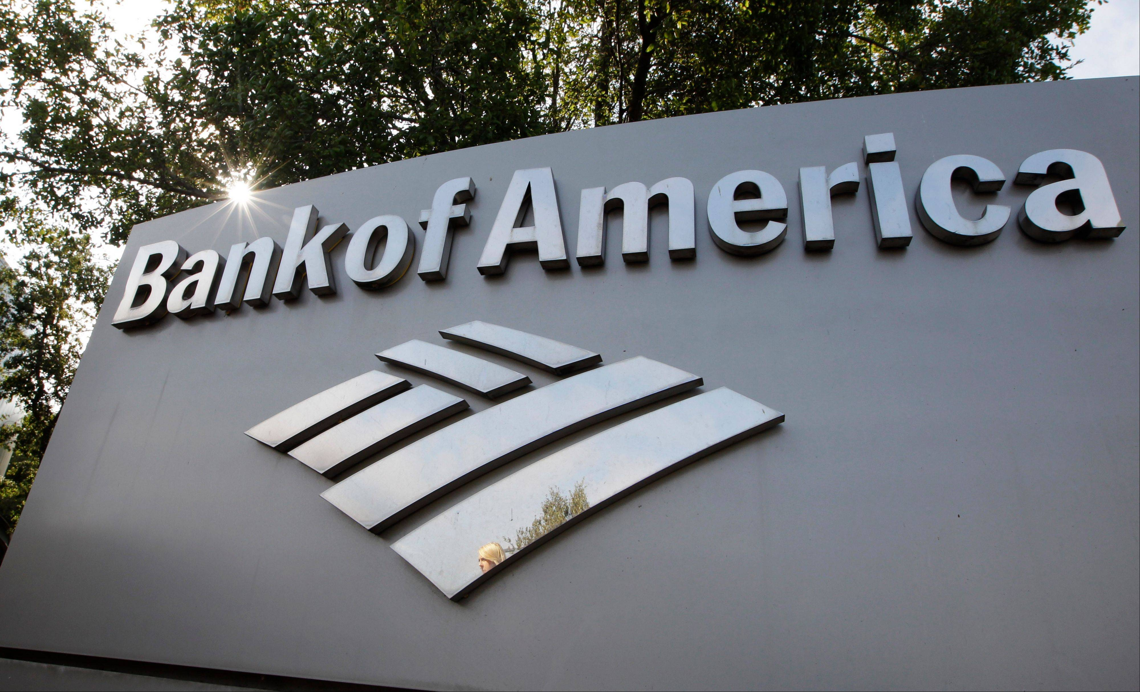 A Bank of America logo is displayed at a branch office in Palo Alto, Calif., Monday, Sept. 12, 2011. Bank of America will cut about 30,000 jobs over the next few years in a bid to save $5 billion per year. The cost-cutting drive is part of a broader effort to reshape and shrink the nation's largest bank as it copes with fallout from the housing bust. (AP Photo/Paul Sakuma)